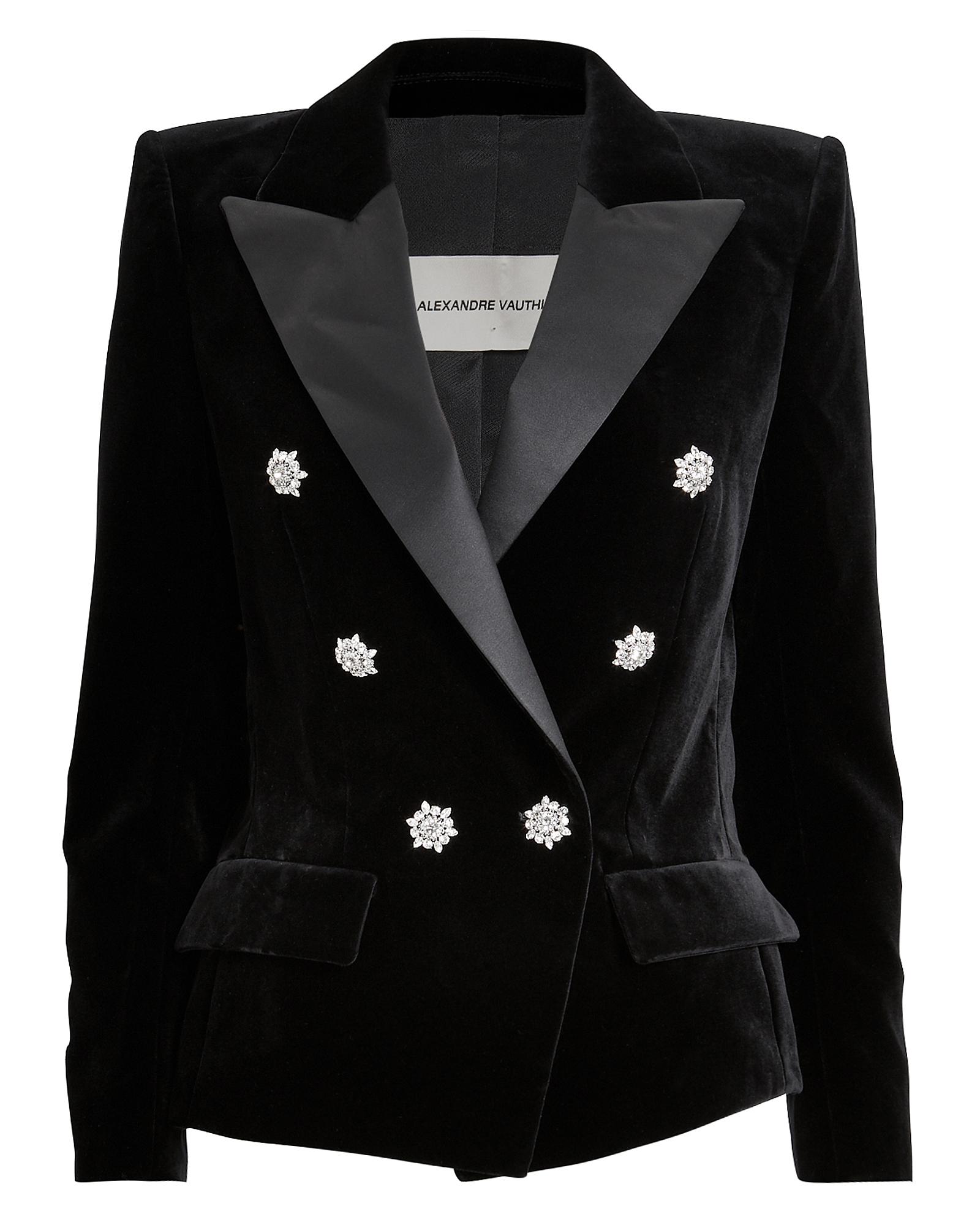 Alexandre Vauthier Blazers Satin Trim Double-Breasted Velvet Blazer