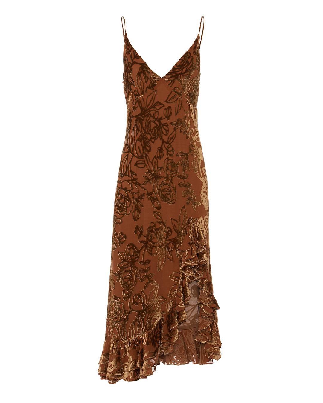 CAROLINE CONSTAS ELVIRA VELVET SLIP DRESS BROWN