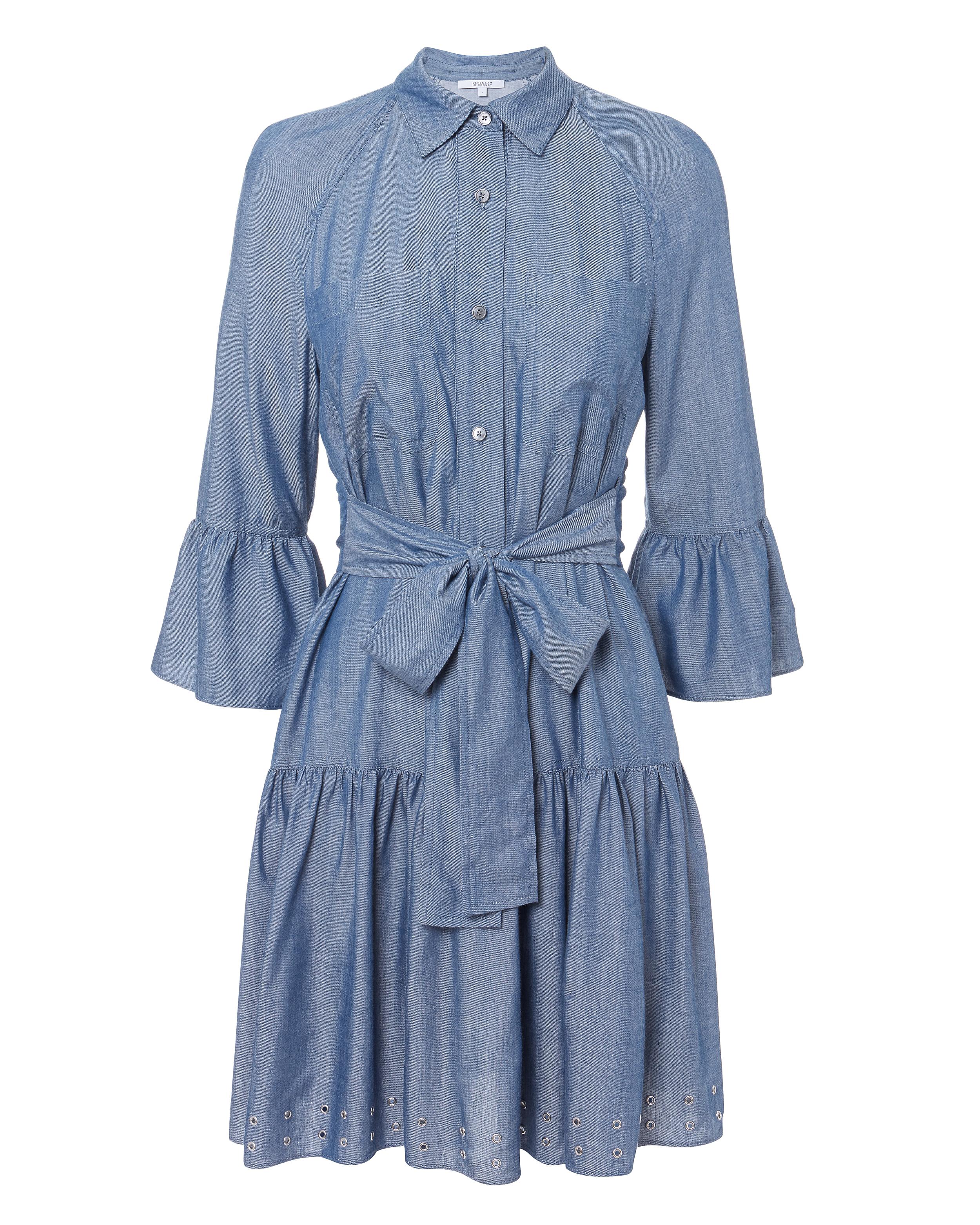 10 CROSBY DEREK LAM  GROMMET DENIM DRESS BLUE-MED
