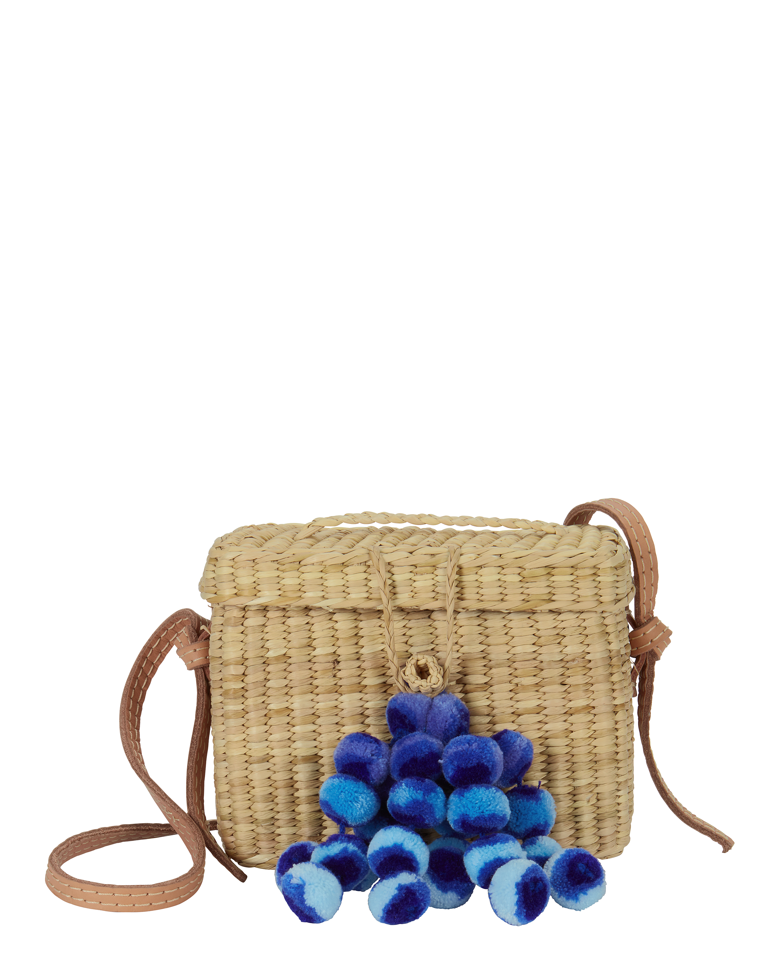 Roge Blue Pom Straw Basket Bag by Nannacay