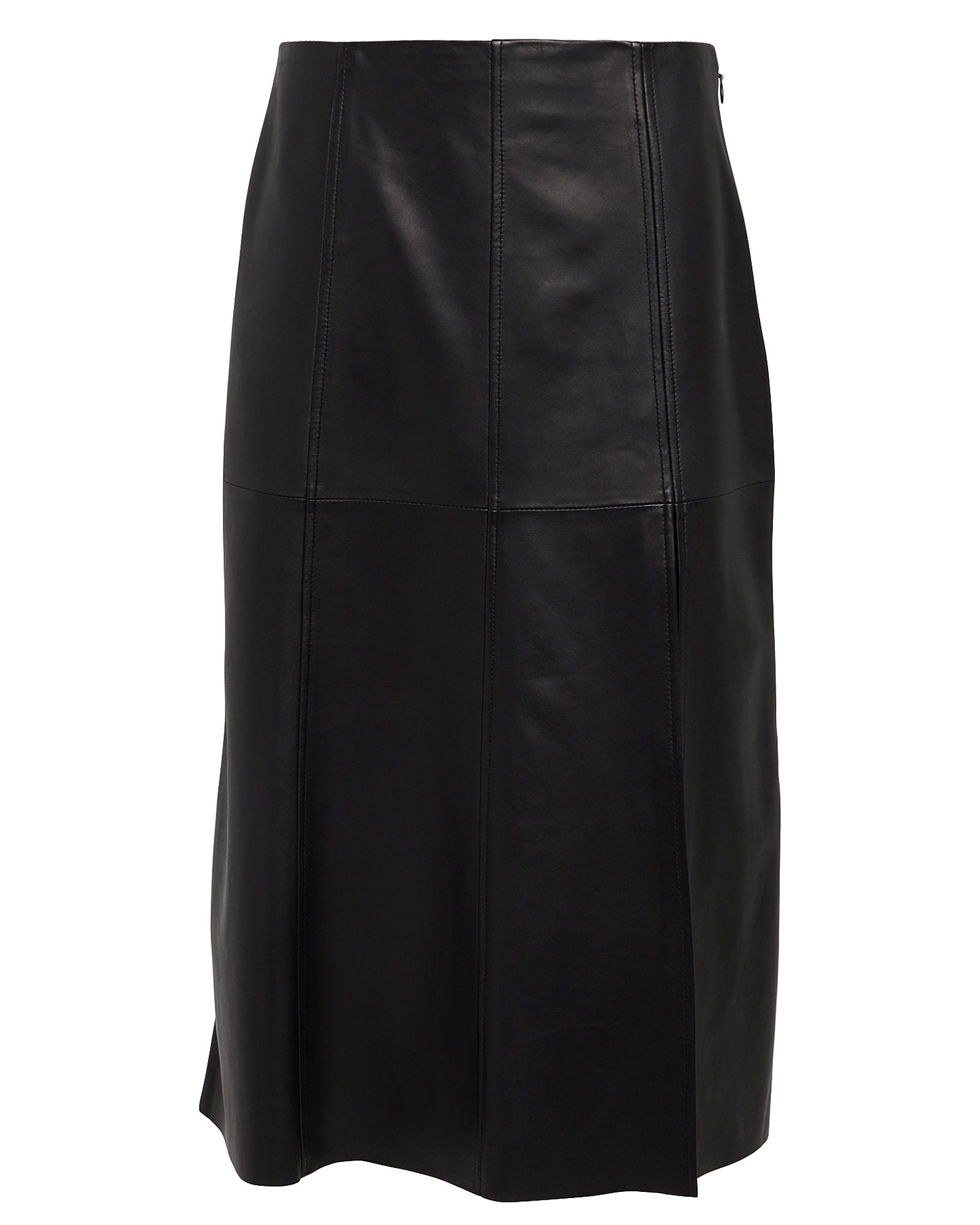 Paneled Leather Midi Skirt by Intermix