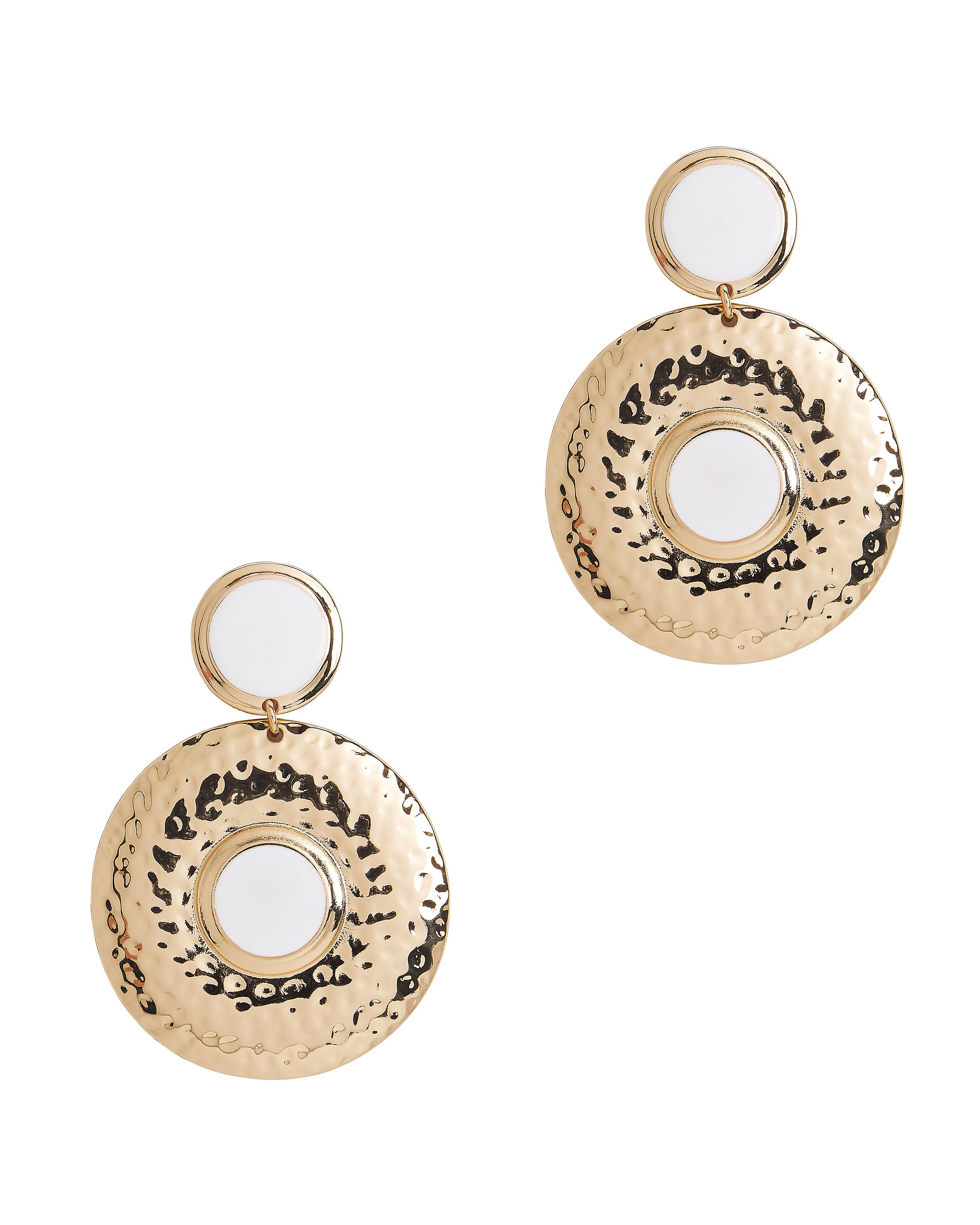 Double Shield White Earrings by Tuleste