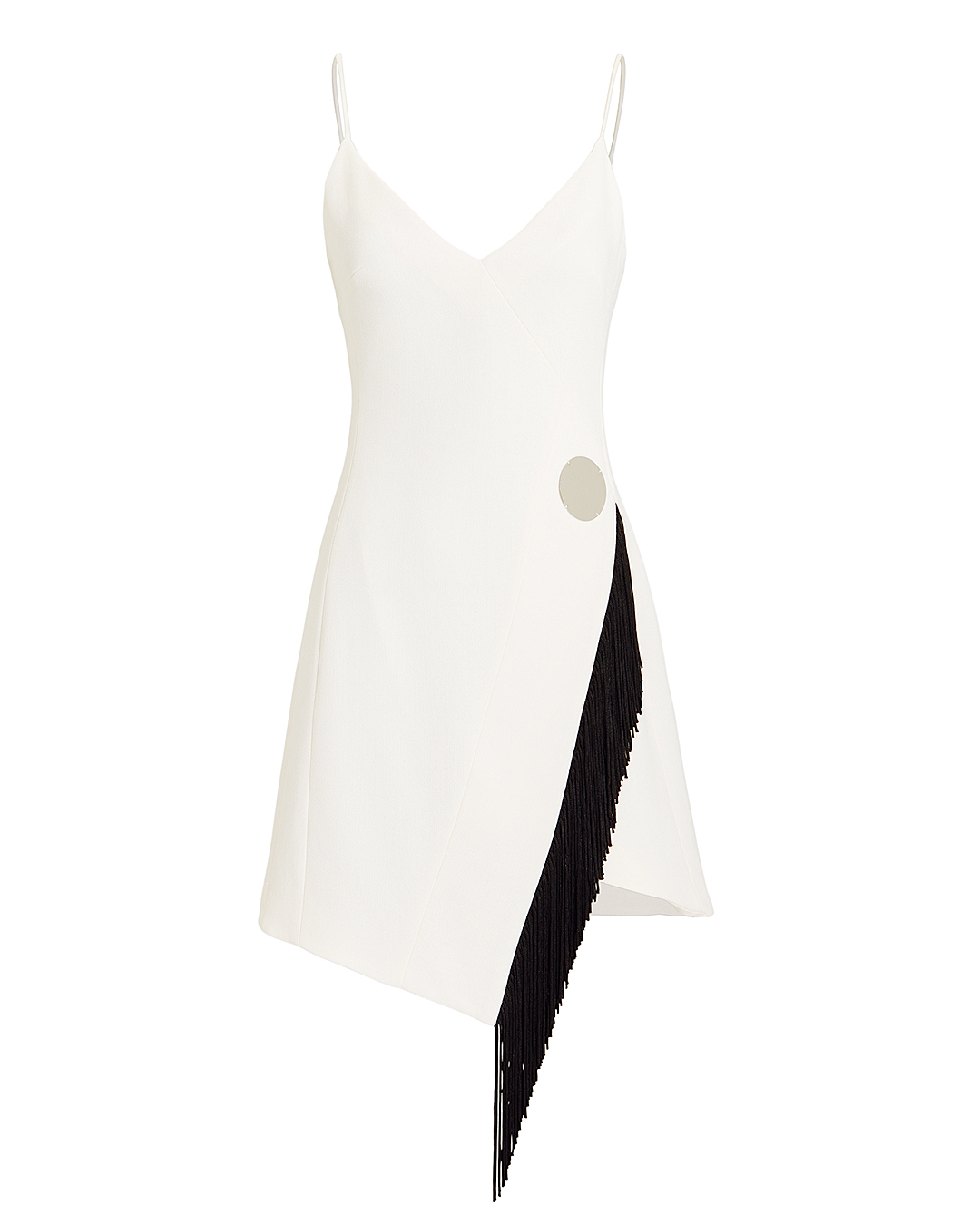 DAVID KOMA FRINGE DETAIL WHITE CAMI DRESS BLK/WHT