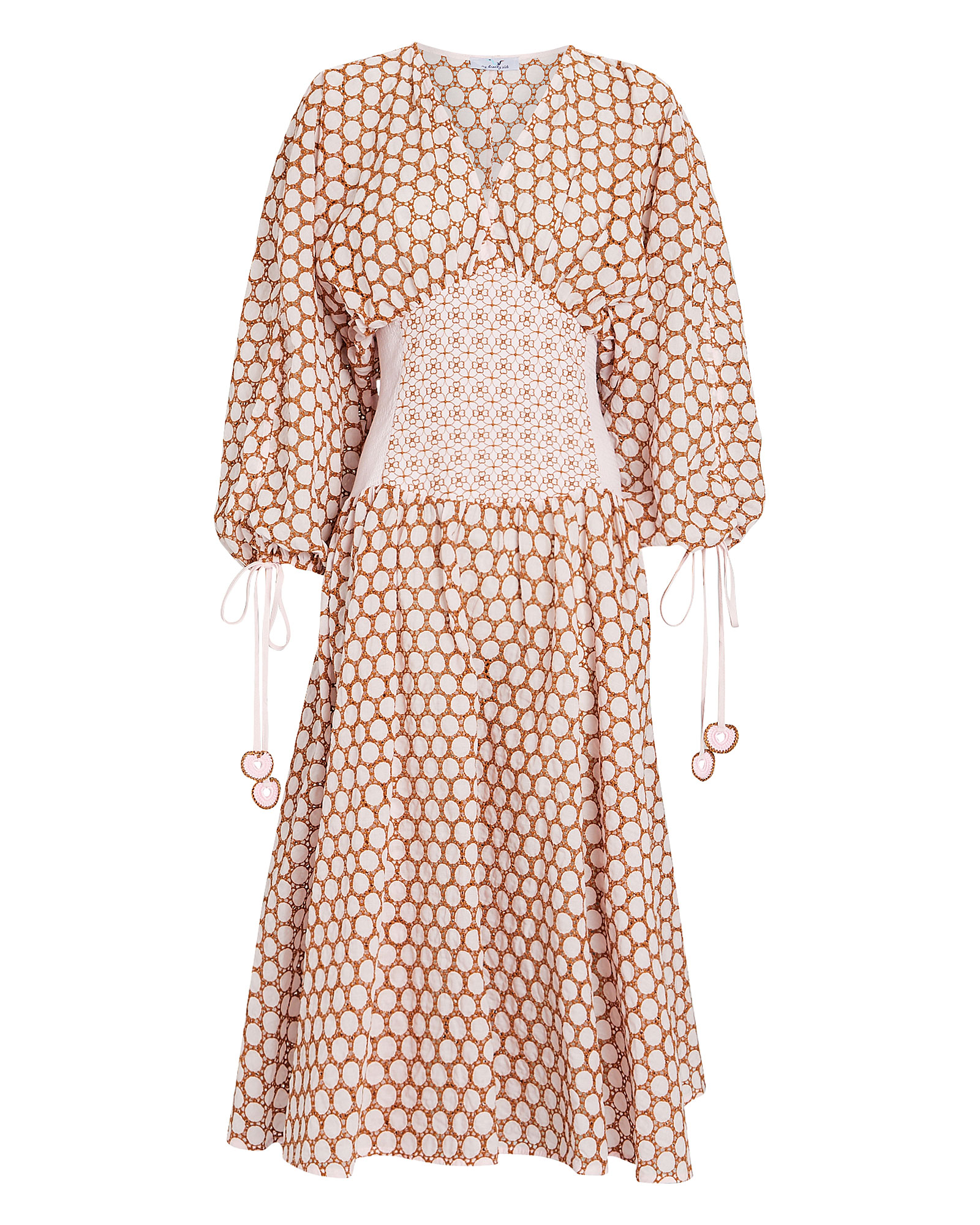My Beachy Side Cotton Eyelet Corset Dress In Pink