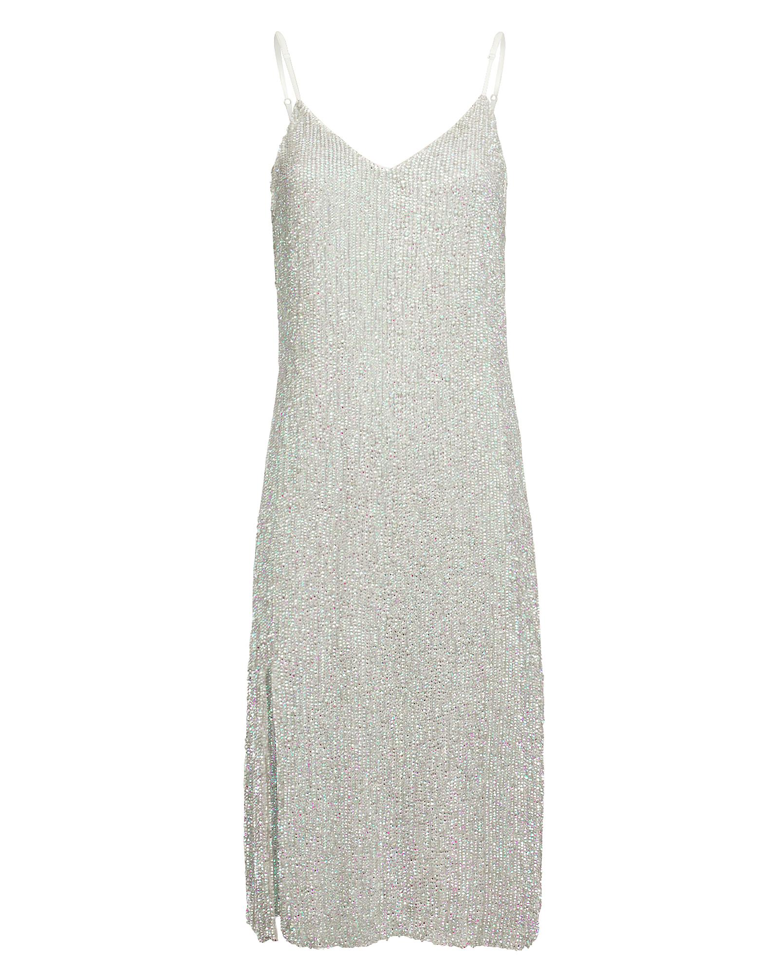Retroféte Dresses RETROFêTE DENISA METALLIC SLIP DRESS  SILVER M
