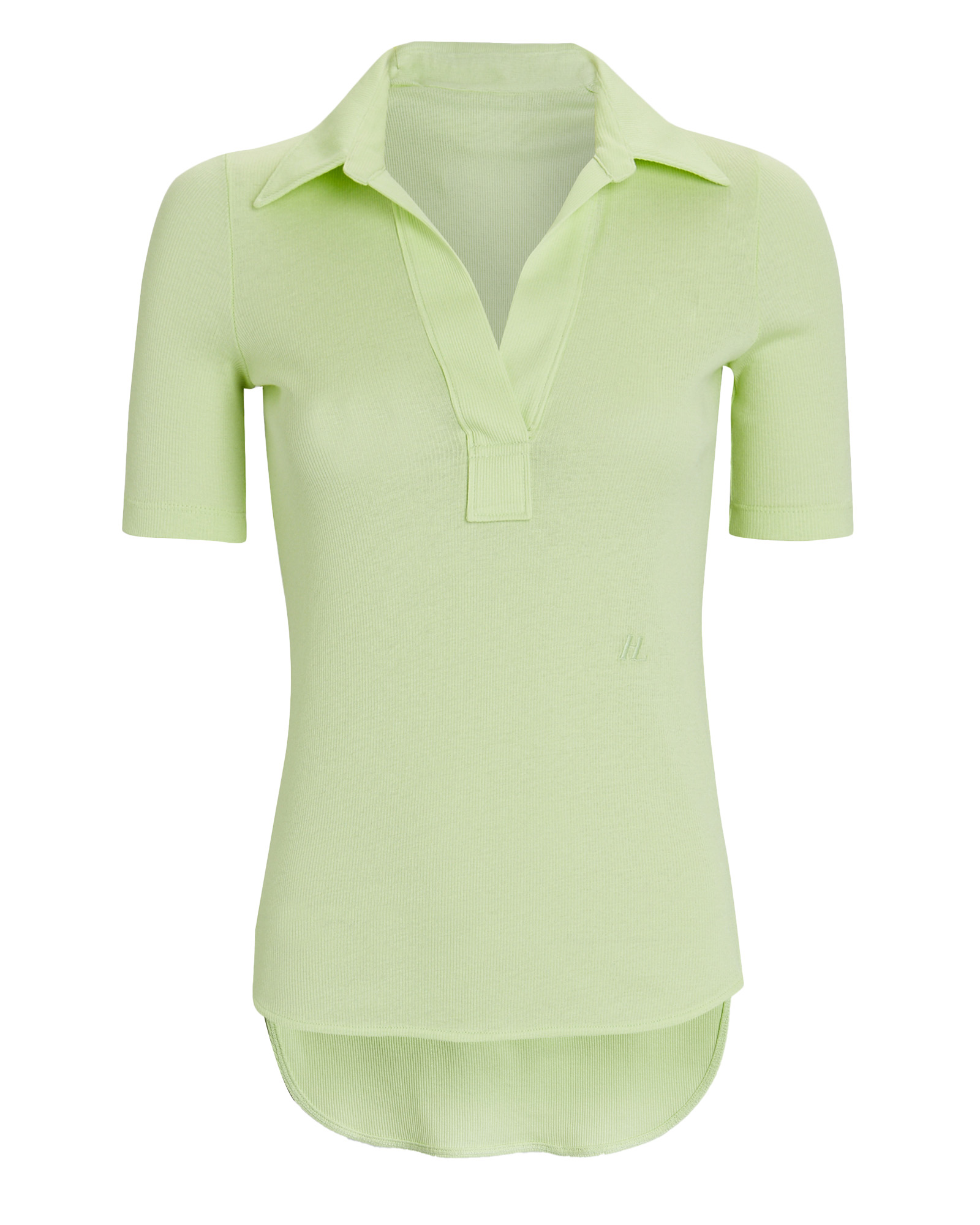 Helmut Lang Cottons Rib Knit Polo Top