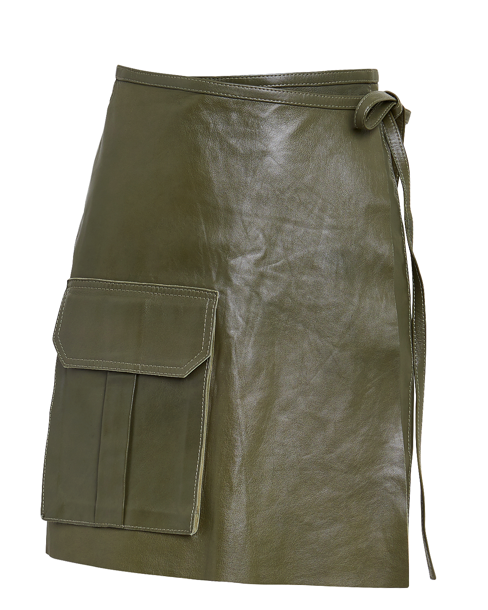 Ganni Skirts Leather Wrap Mini Skirt