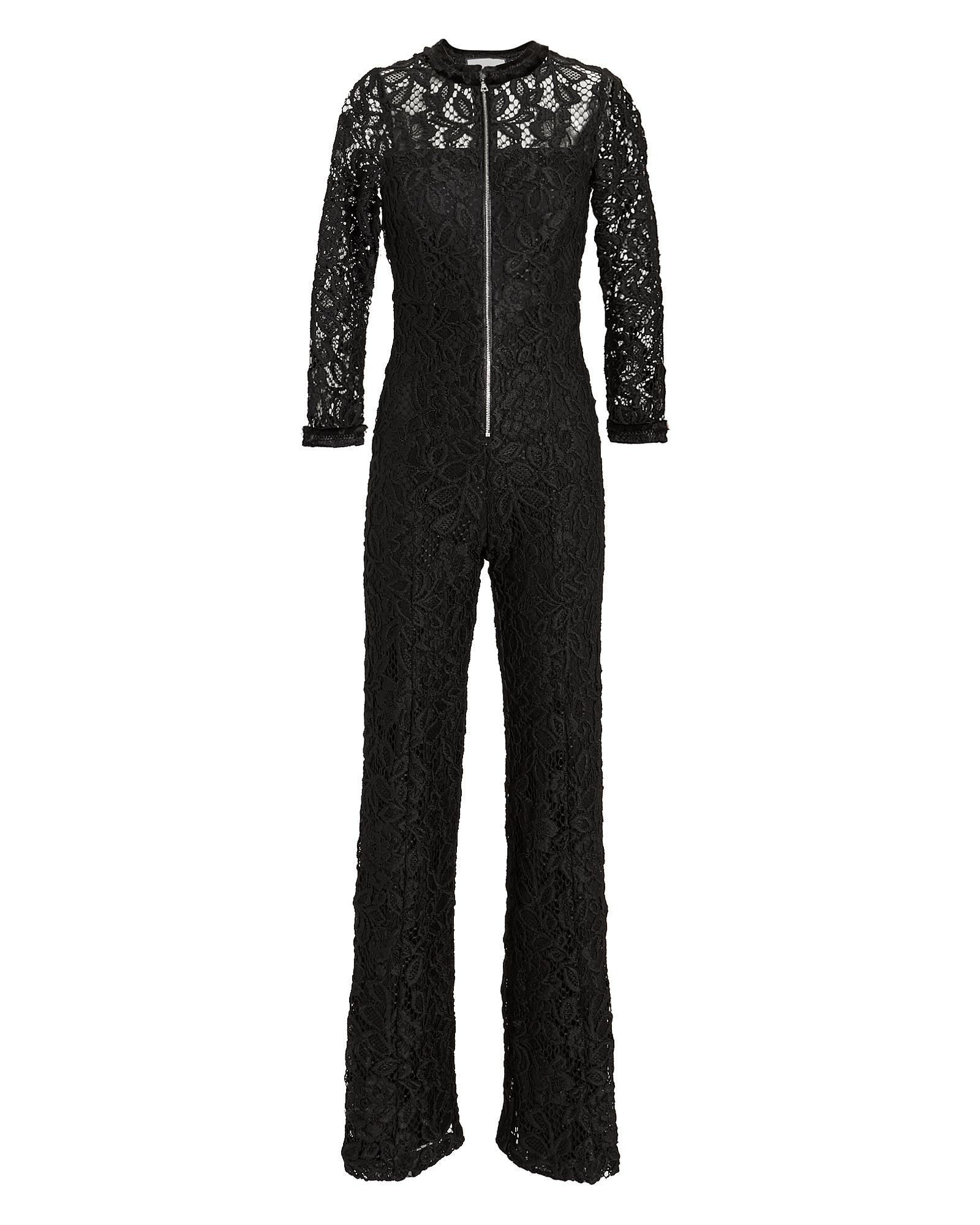 Emaya Lace 3/4-Sleeve Wide-Leg Jumpsuit in Black