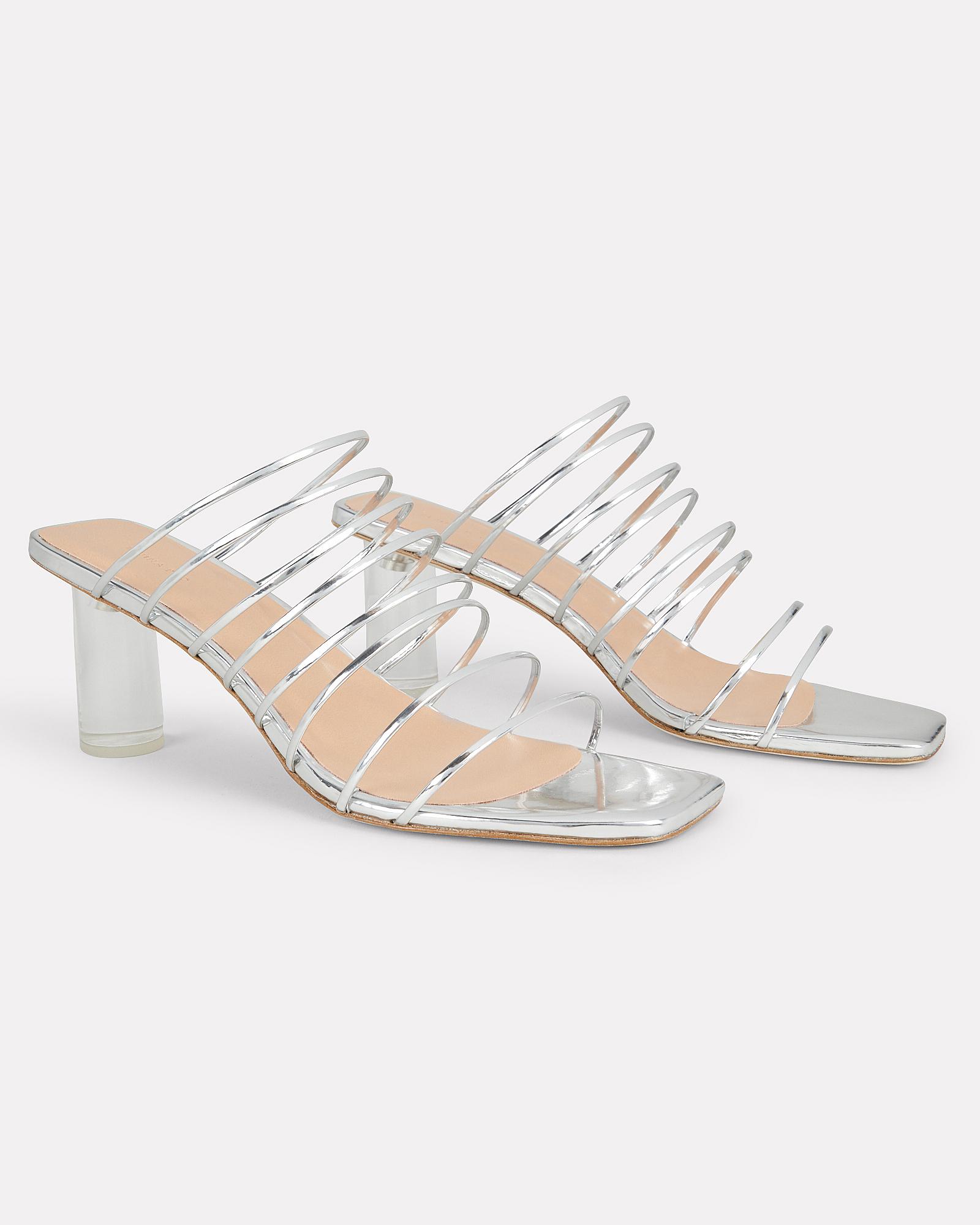 cbe8b2fa156 ... Zoe Lucite Heel Strappy Silver Sandals