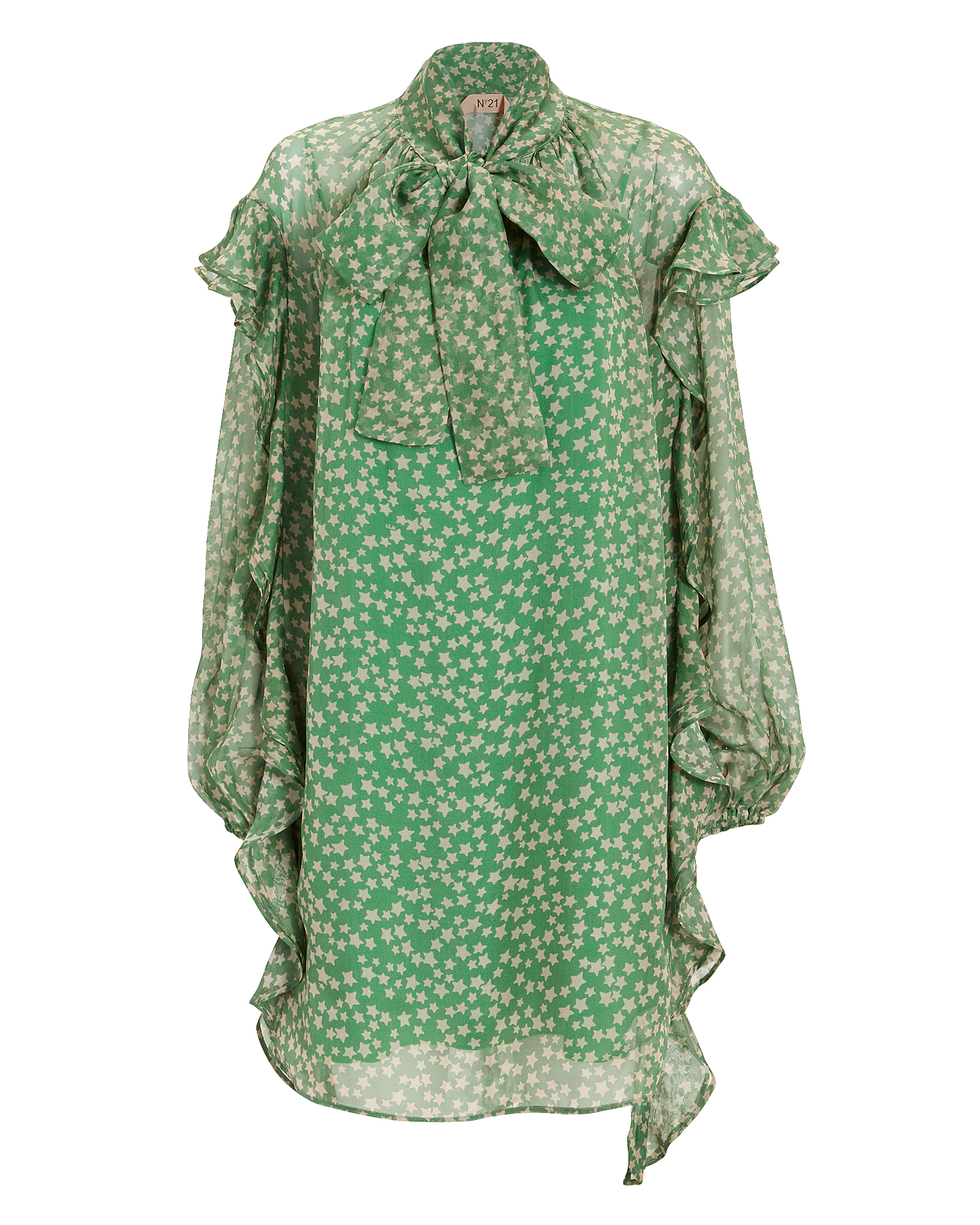 NO. 21 STAR MINI DRESS GREEN