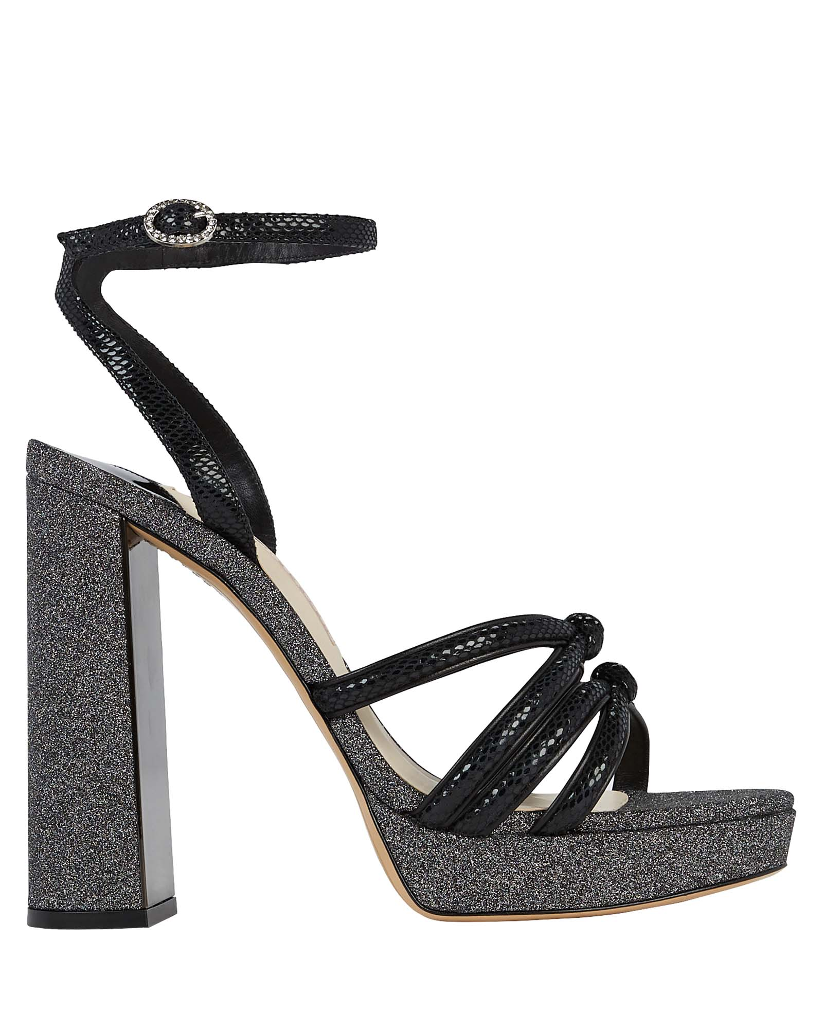 Sophia Webster Freya Suede And Glitter Platform Sandals In Black