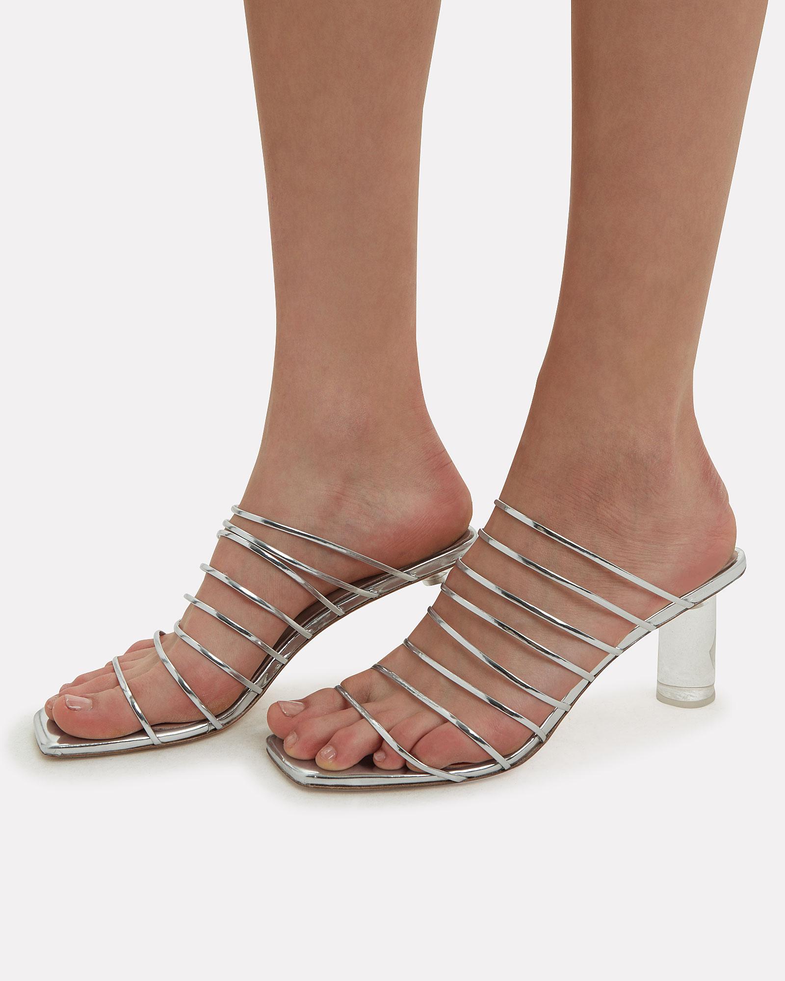 fa75694ad81 Zoe Lucite Heel Strappy Silver Sandals