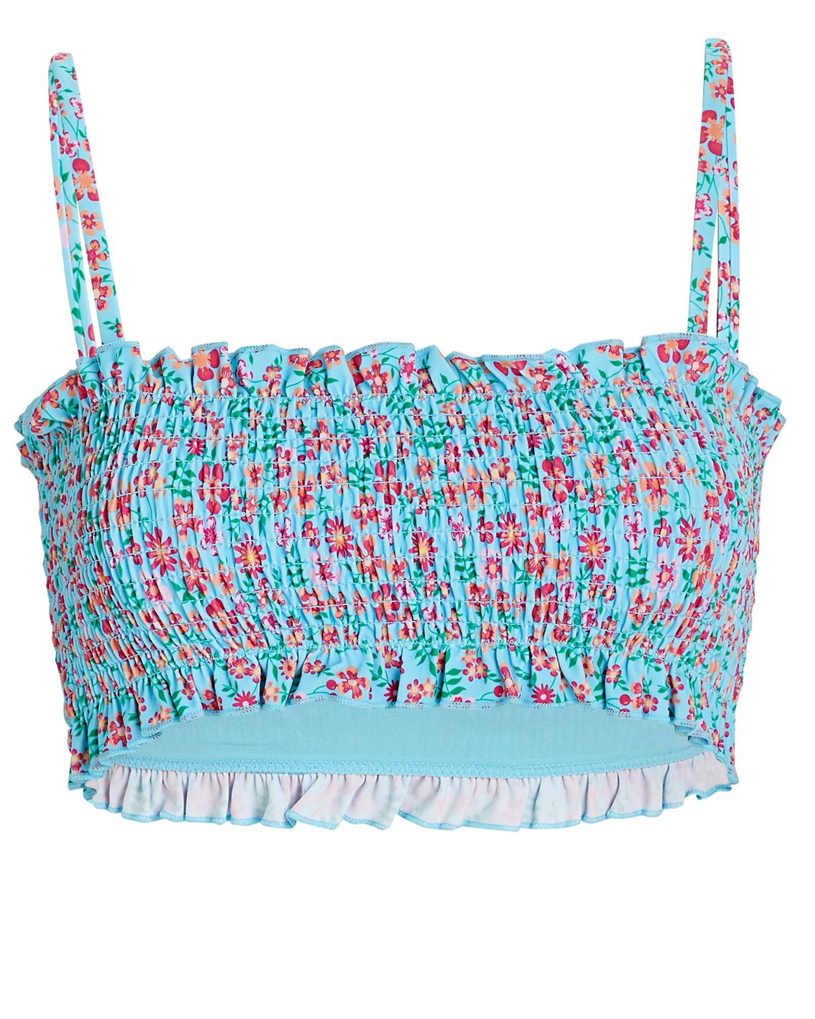 Solid & Striped Indigo Smocked Floral Bikini Top
