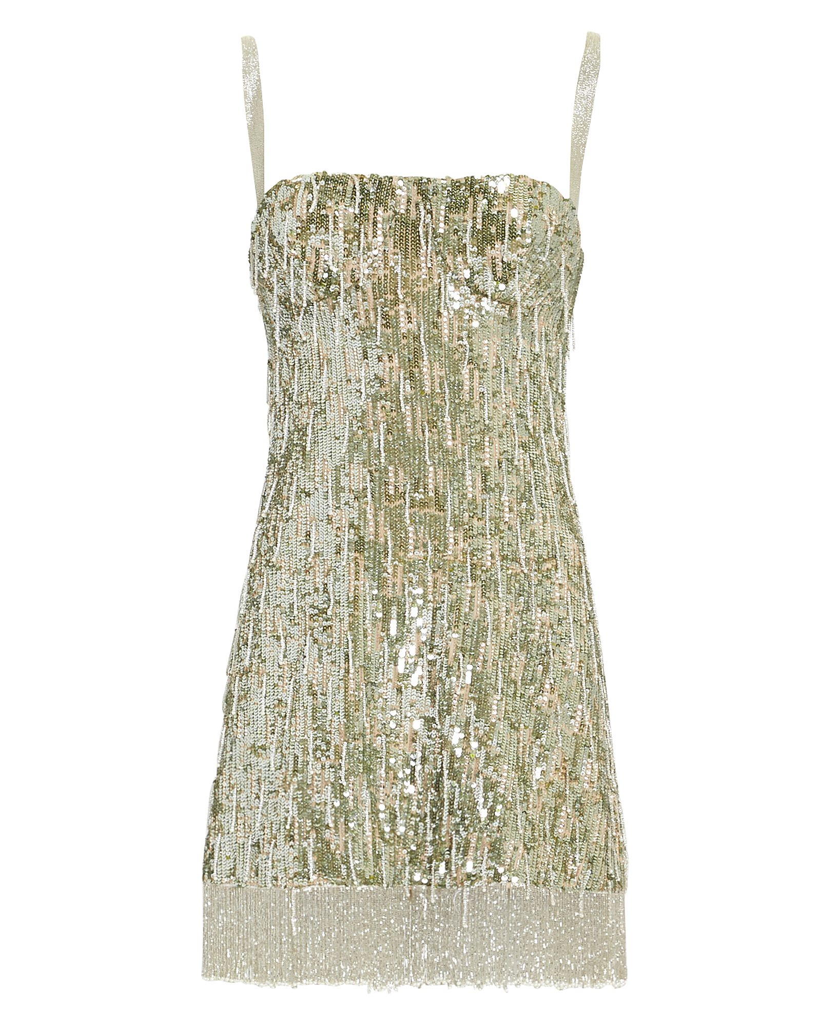 Alexis Izabell Sequined Fringe Cocktail Dress In Metallic