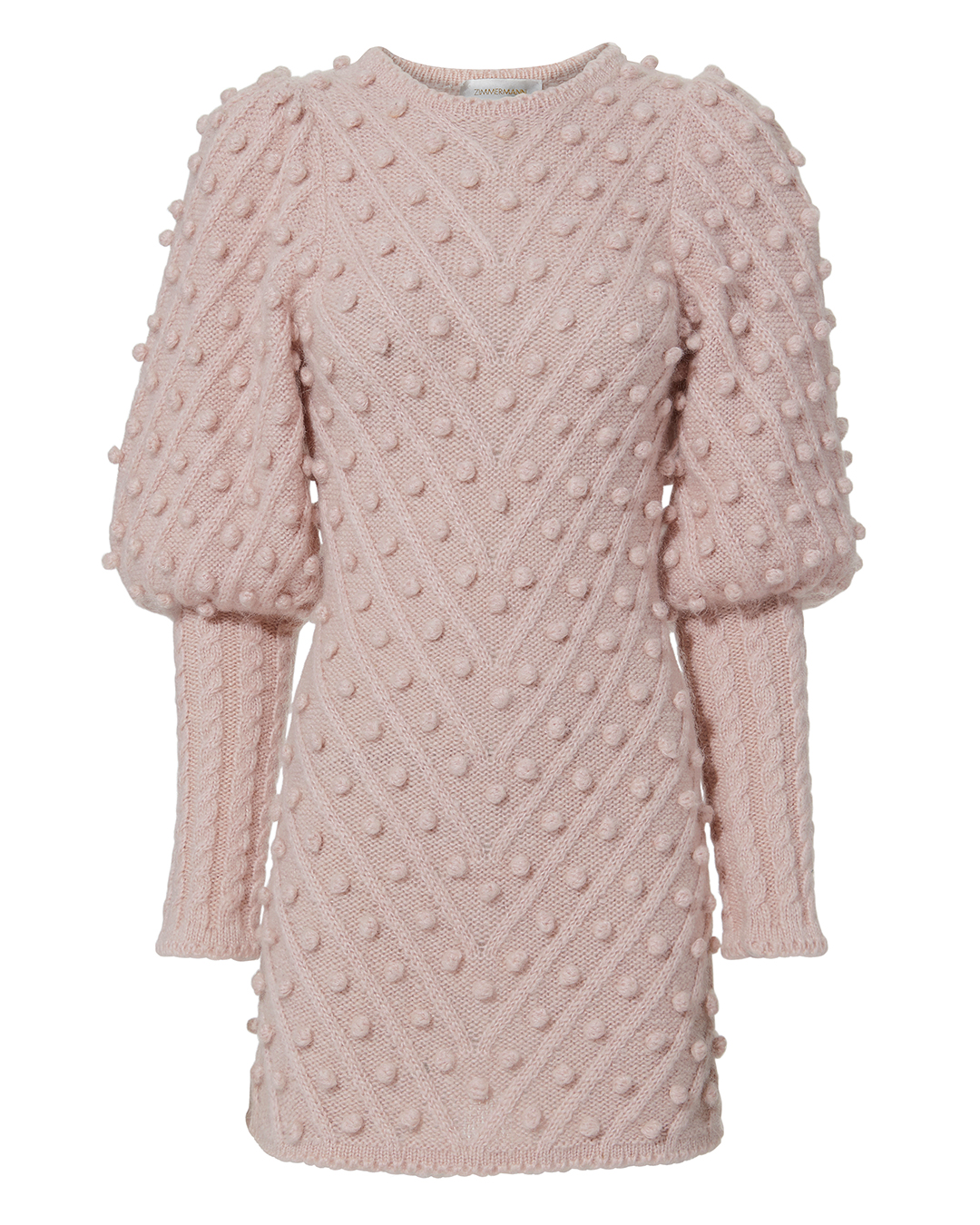 ZIMMERMANN FLEETING BAUBLE SWEATER DRESS PINK