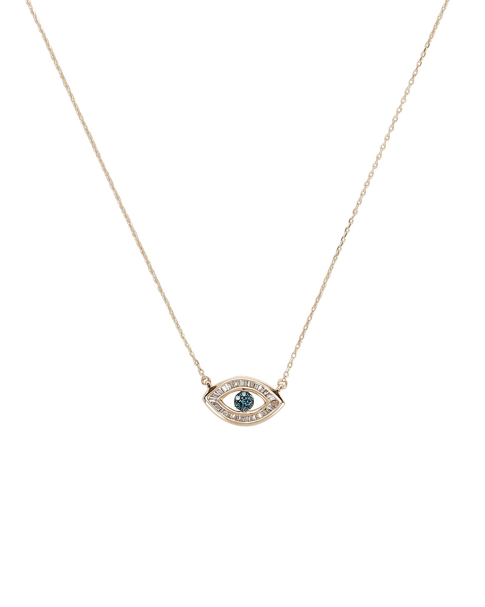 Adina Reyter Baguette Evil Eye Necklace In Gold