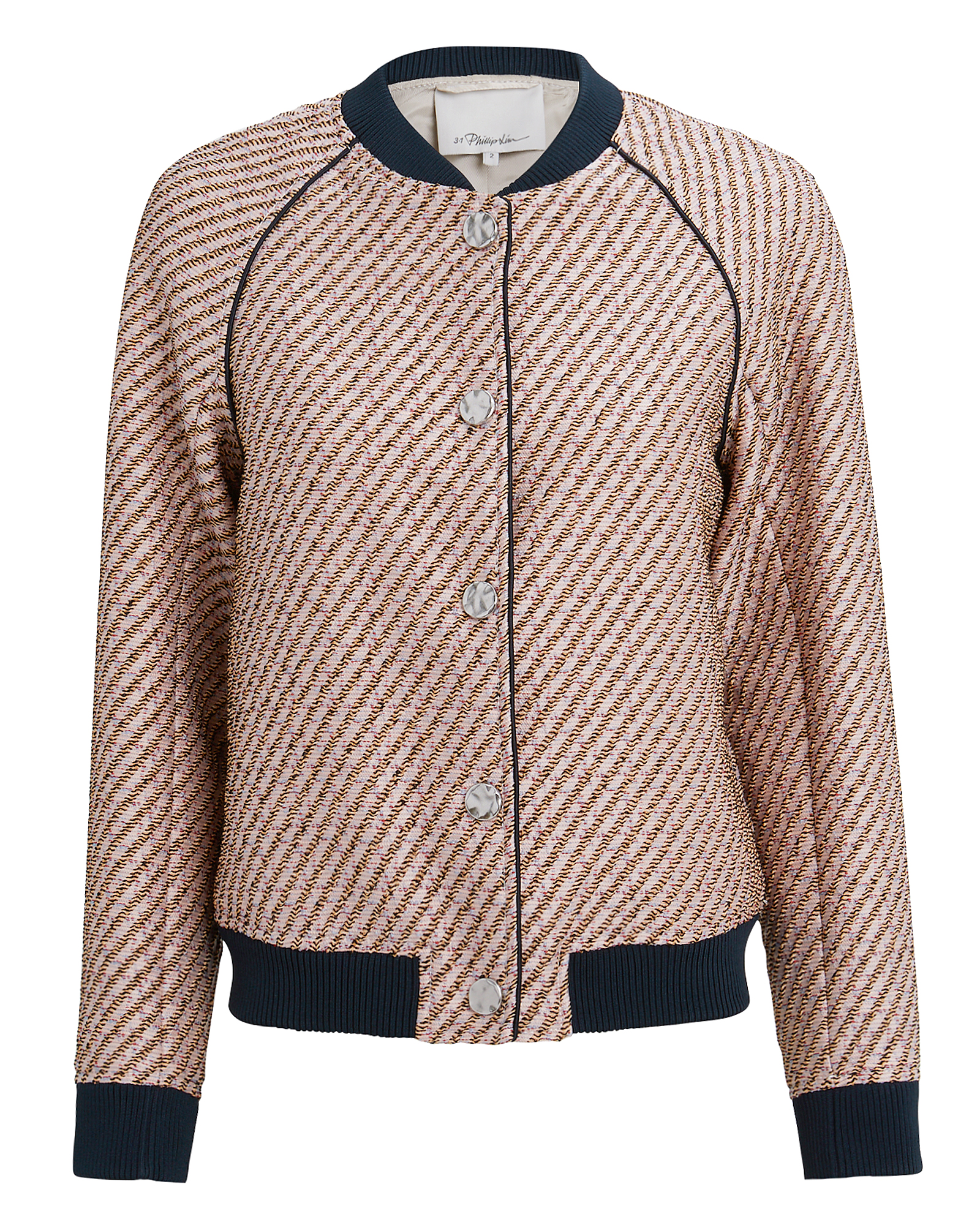 PHILLIP LIM 3.1  Blush Lurex Tweed Jacket Blush/Navy
