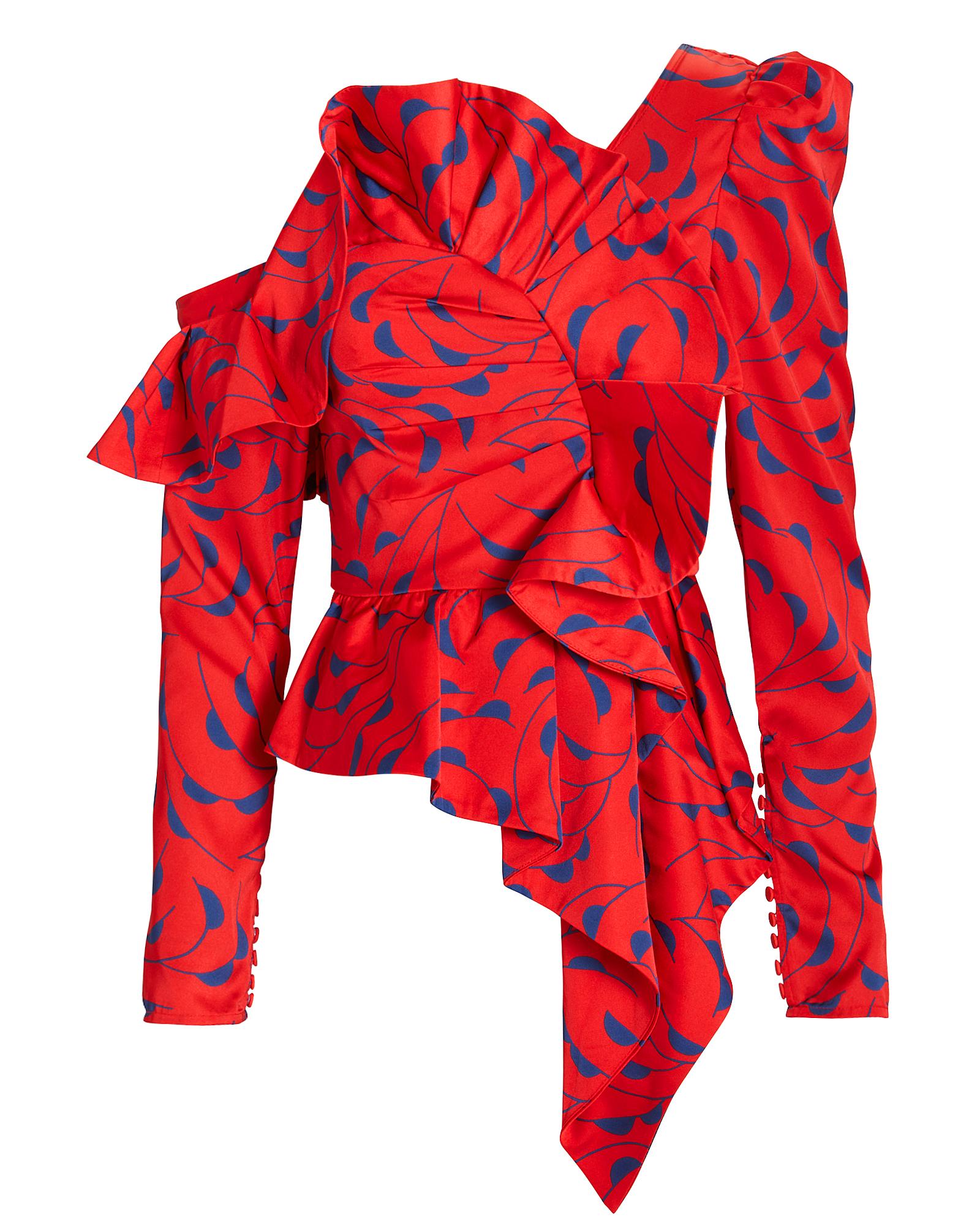 Azalea Print Ruffle Detail One-Shoulder Top in Red