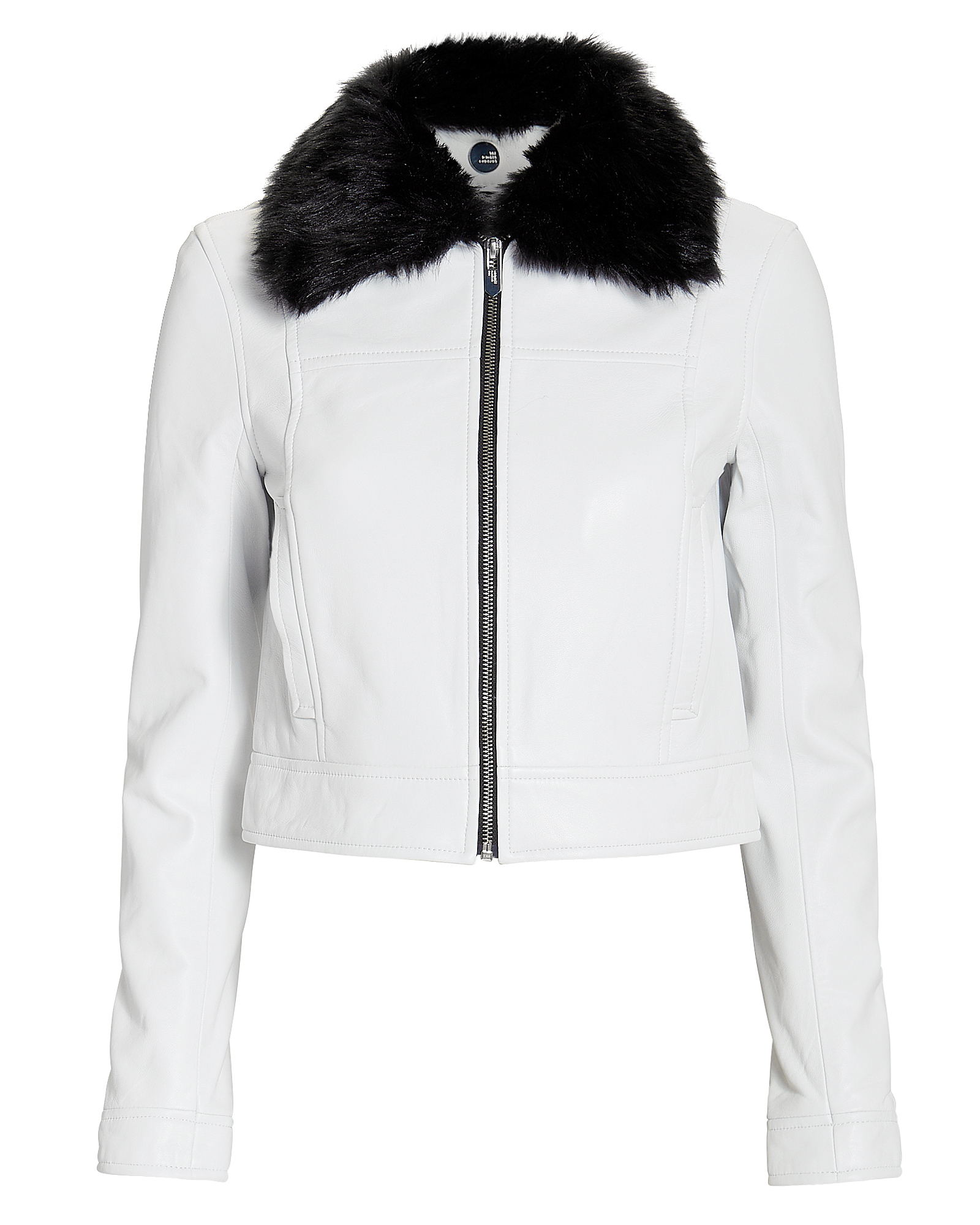 THE MIGHTY COMPANY The Mighty Comany Lincoln Faux Fur Collar Jacket White/Black