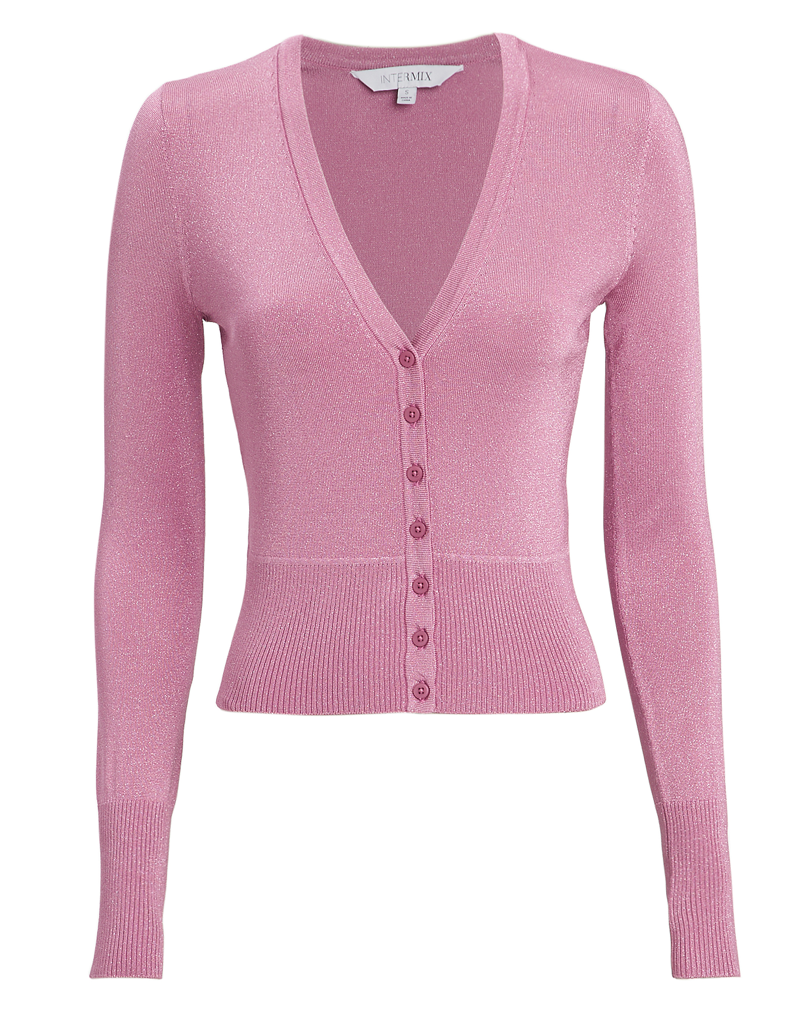 EXCLUSIVE FOR INTERMIX Celestine Pink Lurex Cardigan