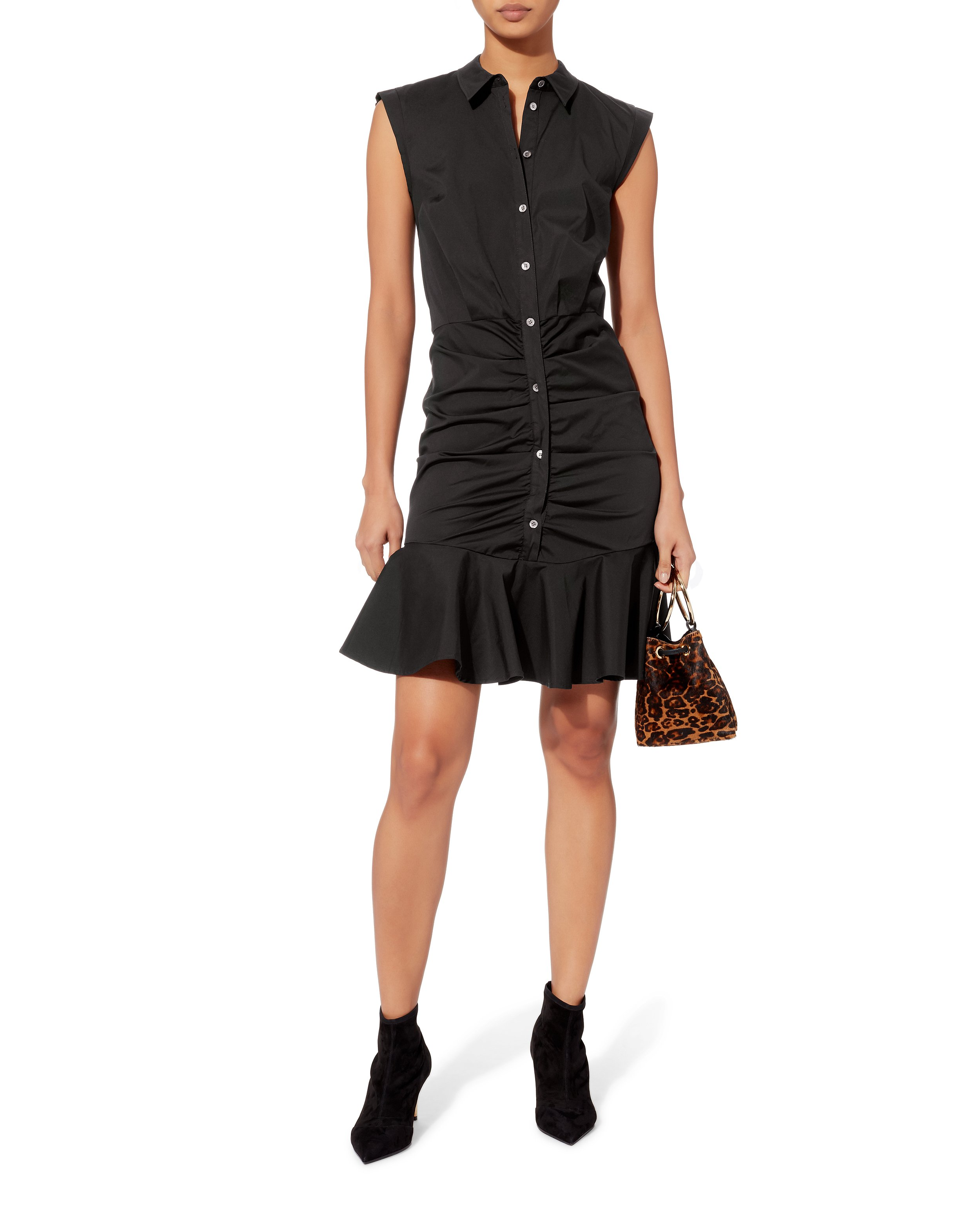 Black Ruched Midi Shirt Dress Veronica Beard