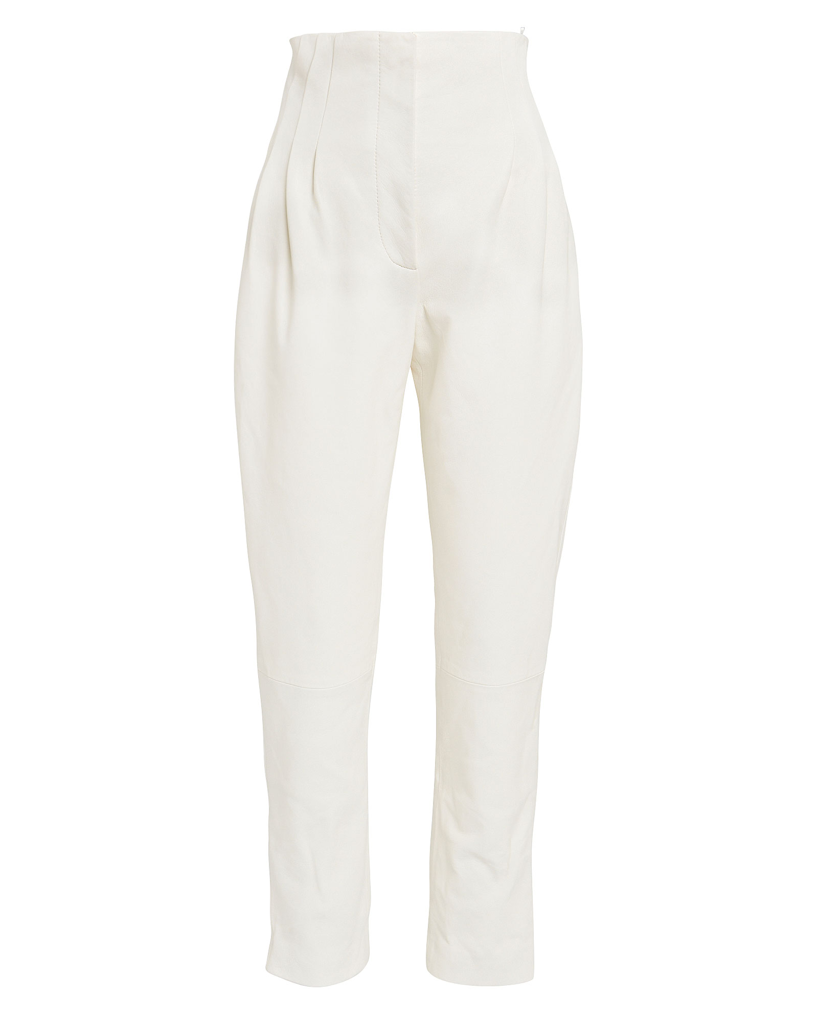 Alberta Ferretti High-waisted Pleated Leather Pants In Ivory