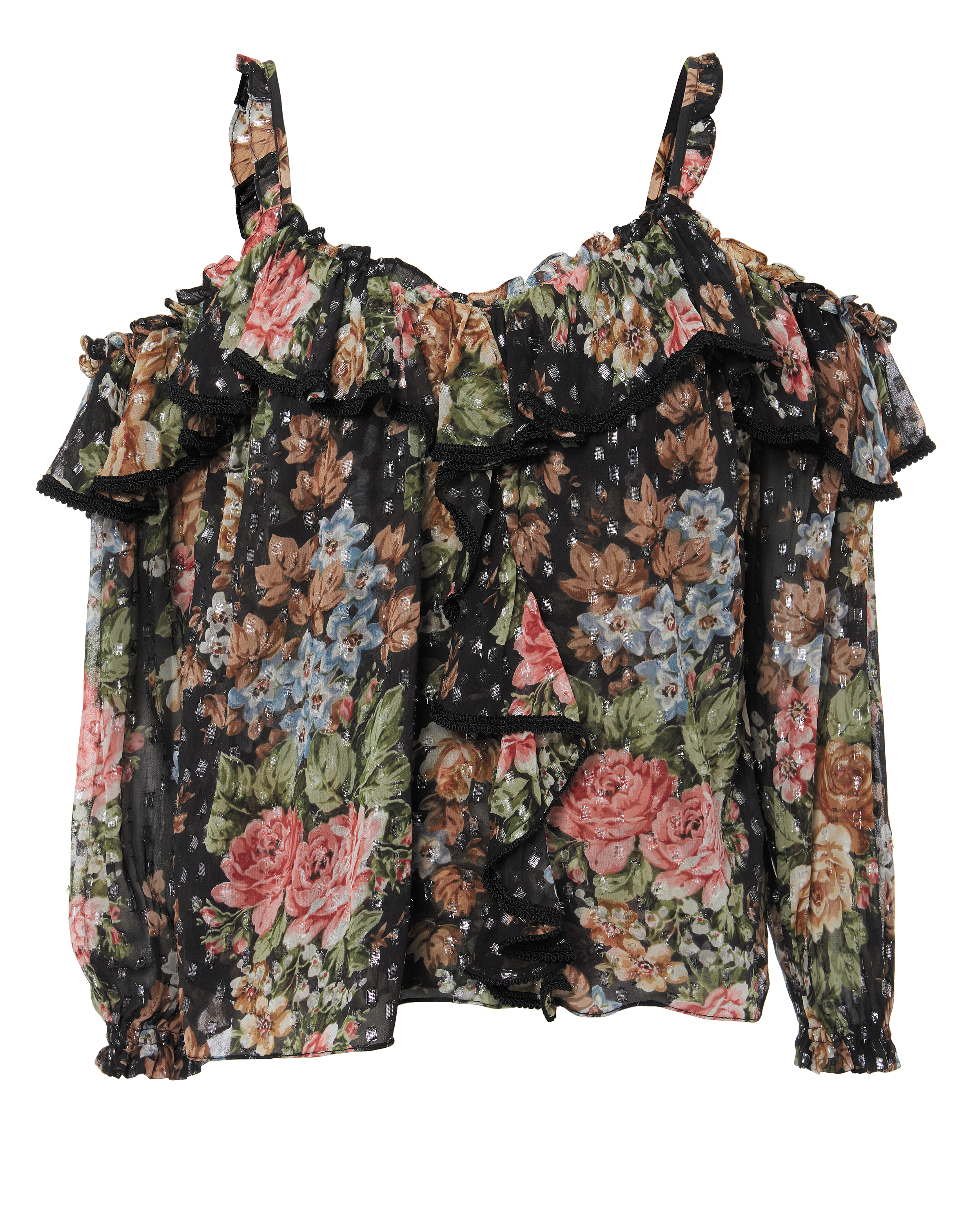 Paradise Rose Cold-Shoulder Ruffle Top in Black