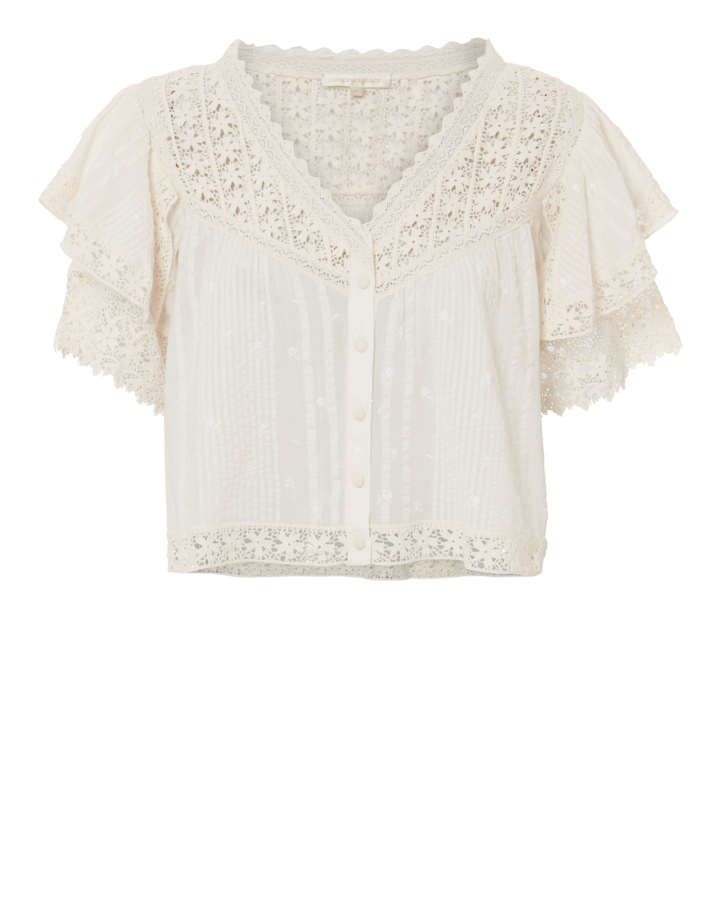 LOVE SHACK FANCY LOVEHACKFANCY CAITLIN LACE TOP IVORY