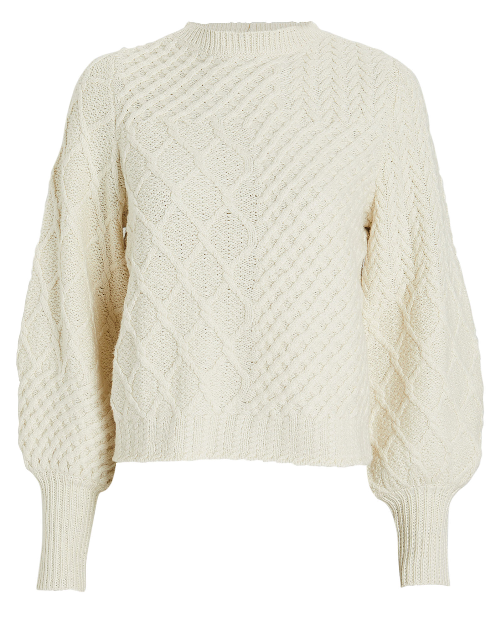 Frame Knits FRAME PATCHWORK CABLE KNIT WOOL SWEATER