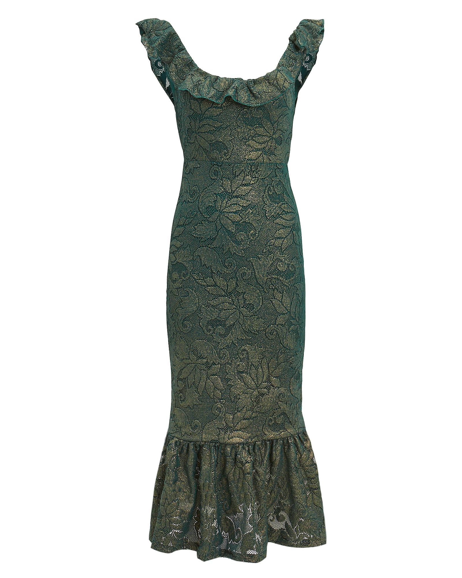 NIGHTCAP CLOTHING Metallic Scoop-Neck Flounce-Hem Dress in Emerald