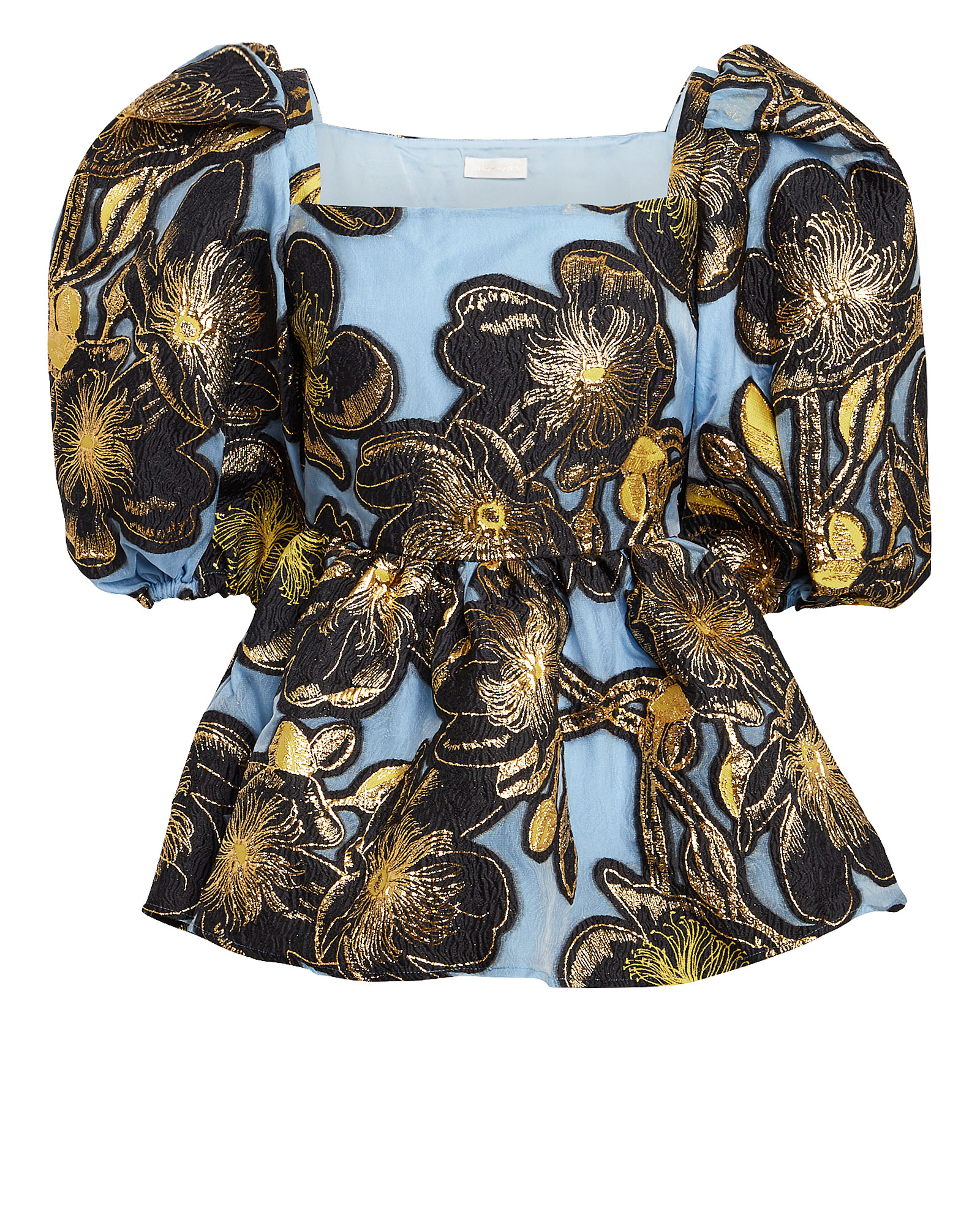 Stine Goya Irene Square-neck Floral Embroidered Top In Gold Floral
