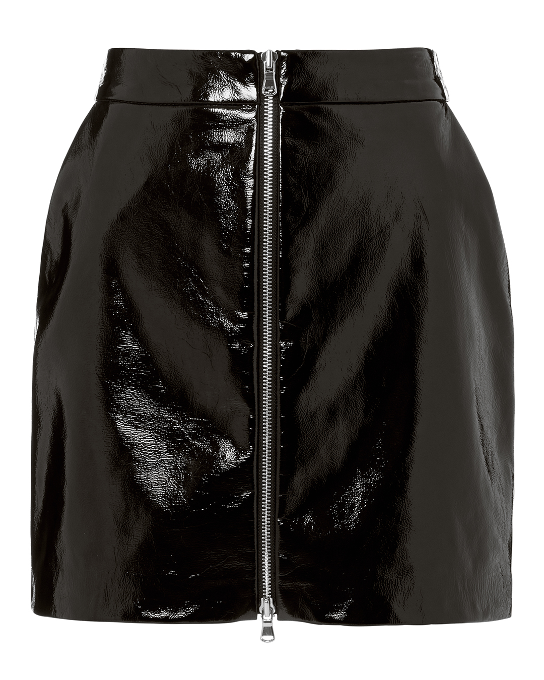 Claudia Patent Leather Zip-Front Miniskirt - Black Size 2