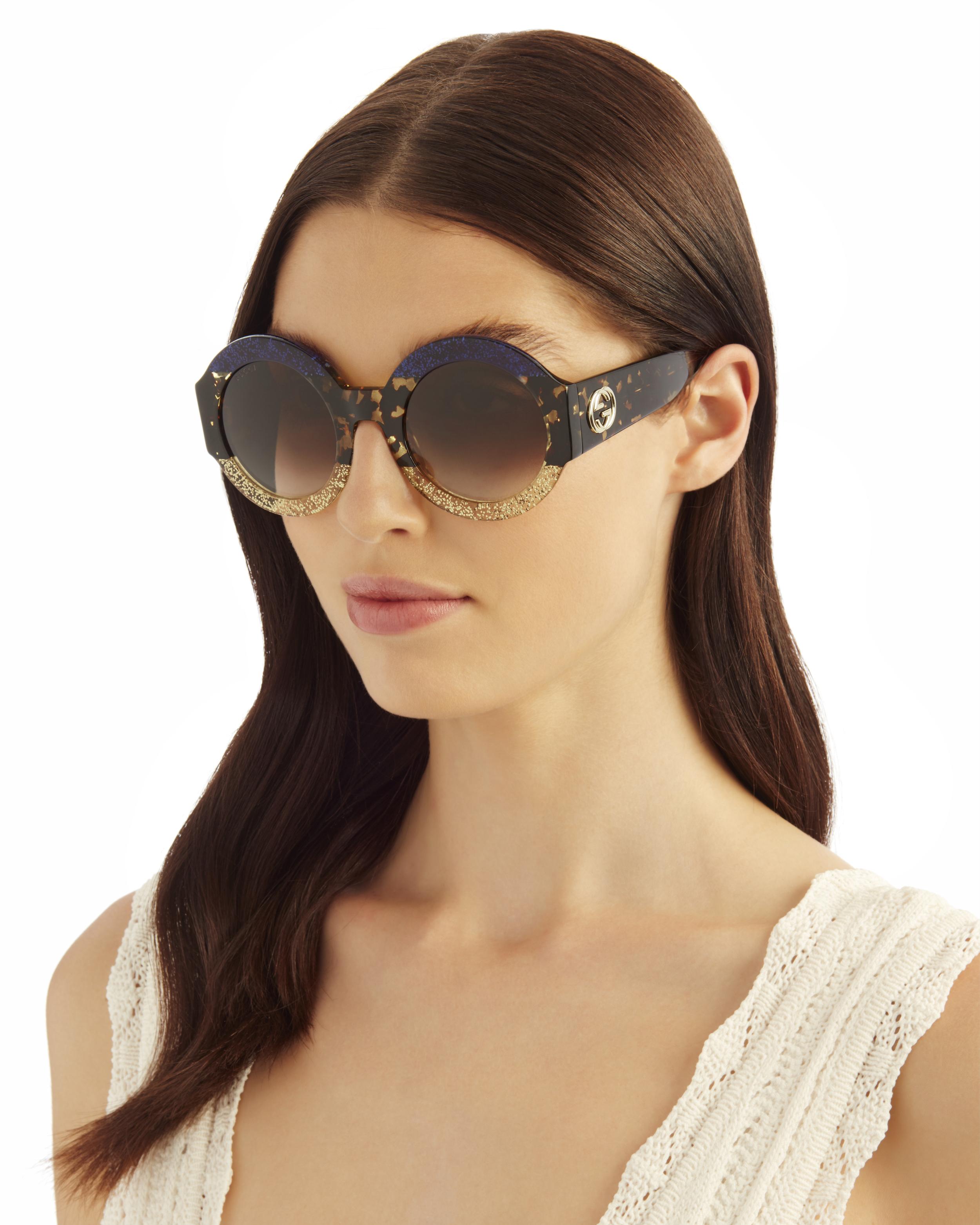 7c1173c9d ... Colorblock Glitter Sunglasses, BLUE/GOLD, hi-res ...