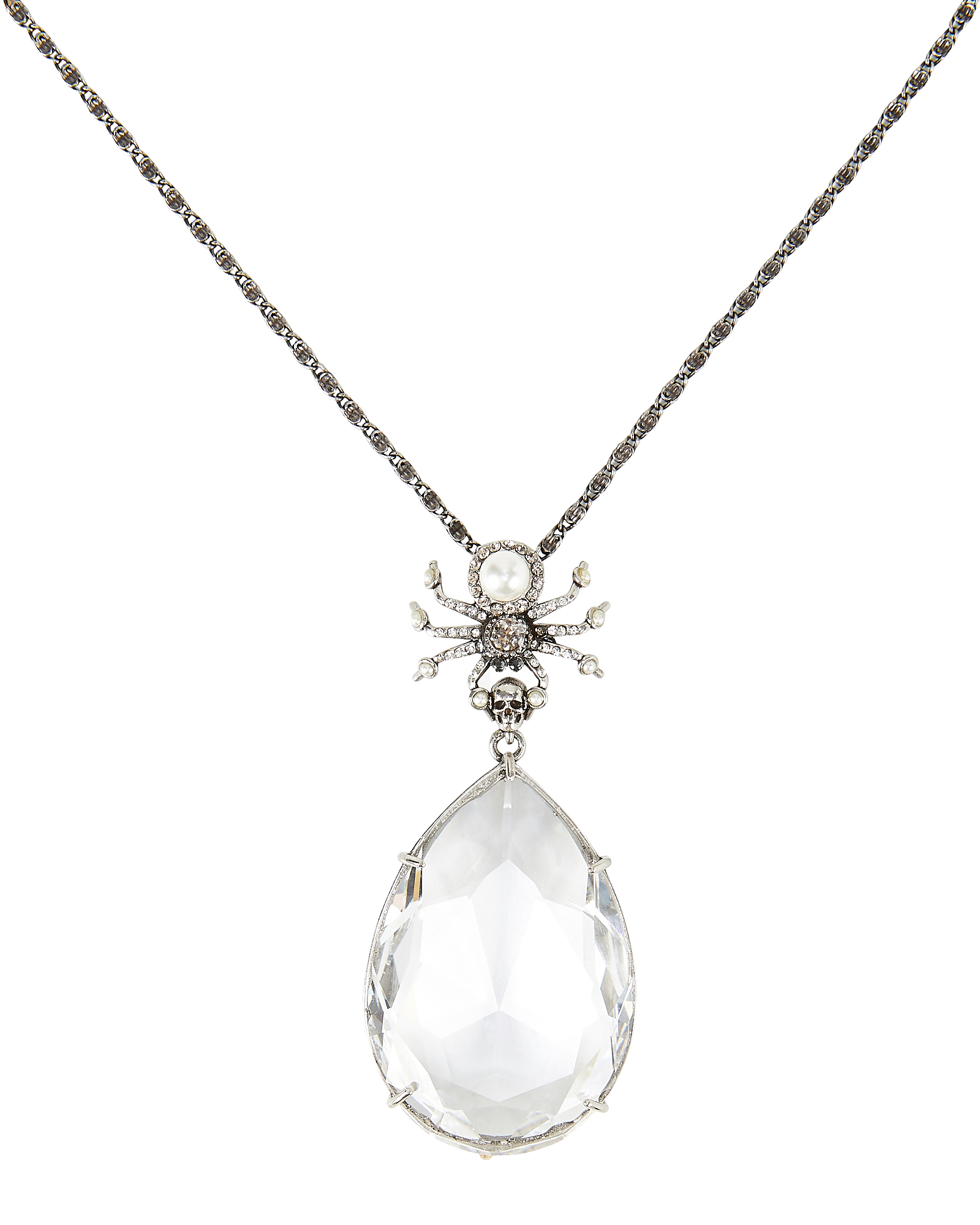 Alexander Mcqueen Spider Crystal Droplet Necklace In White