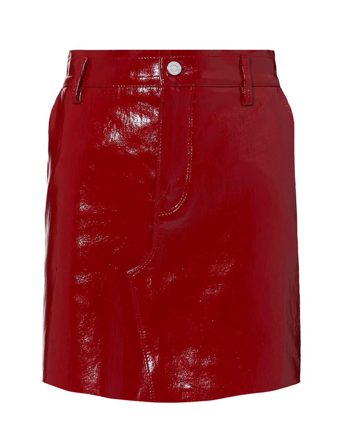 Red Patent Leather Mini Skirt Red, Cardinal