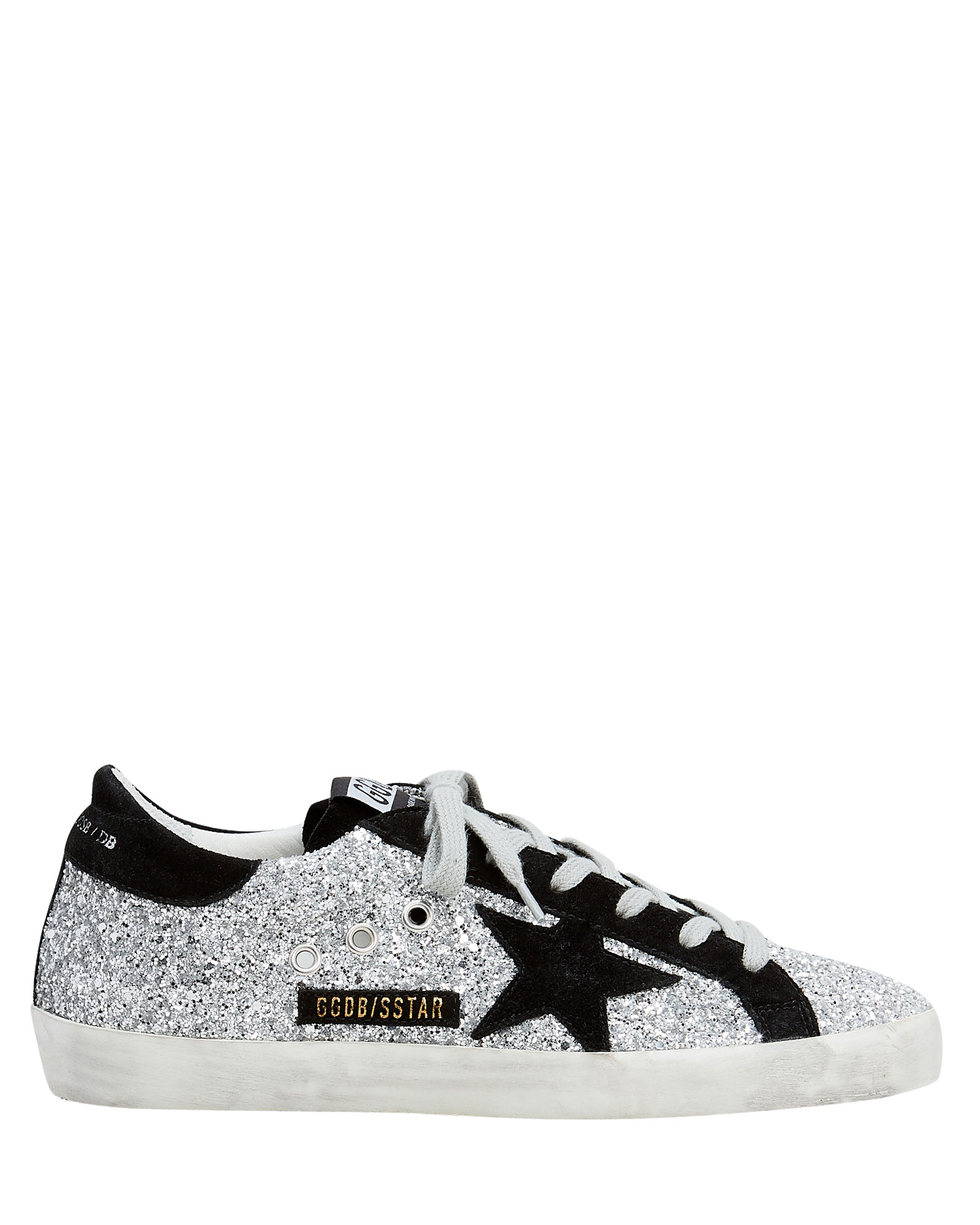 Superstar Suede Star Glitter Low-Top Sneakers Silver