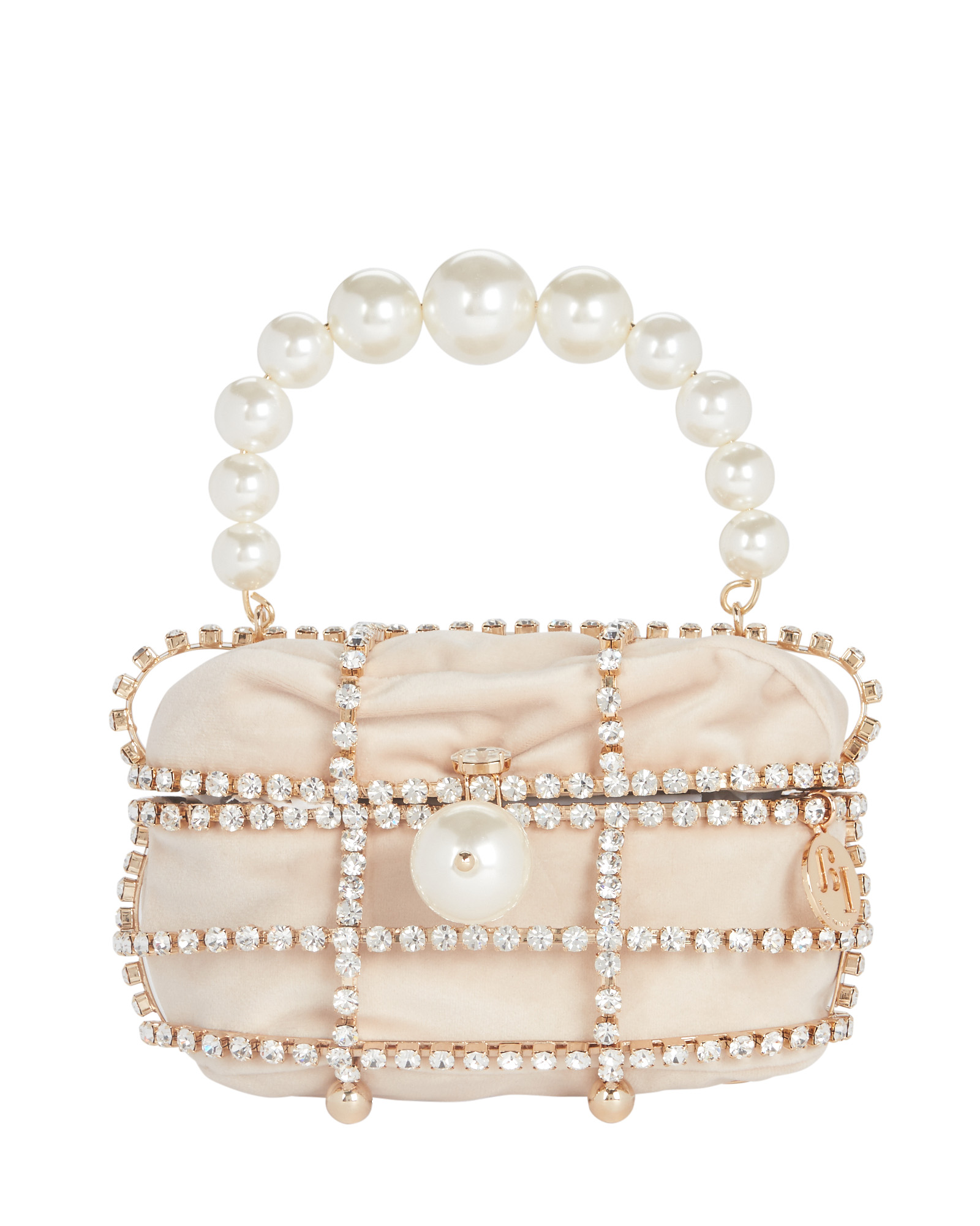 Rosantica Ducas Cage Pearl and Crystal Clutch