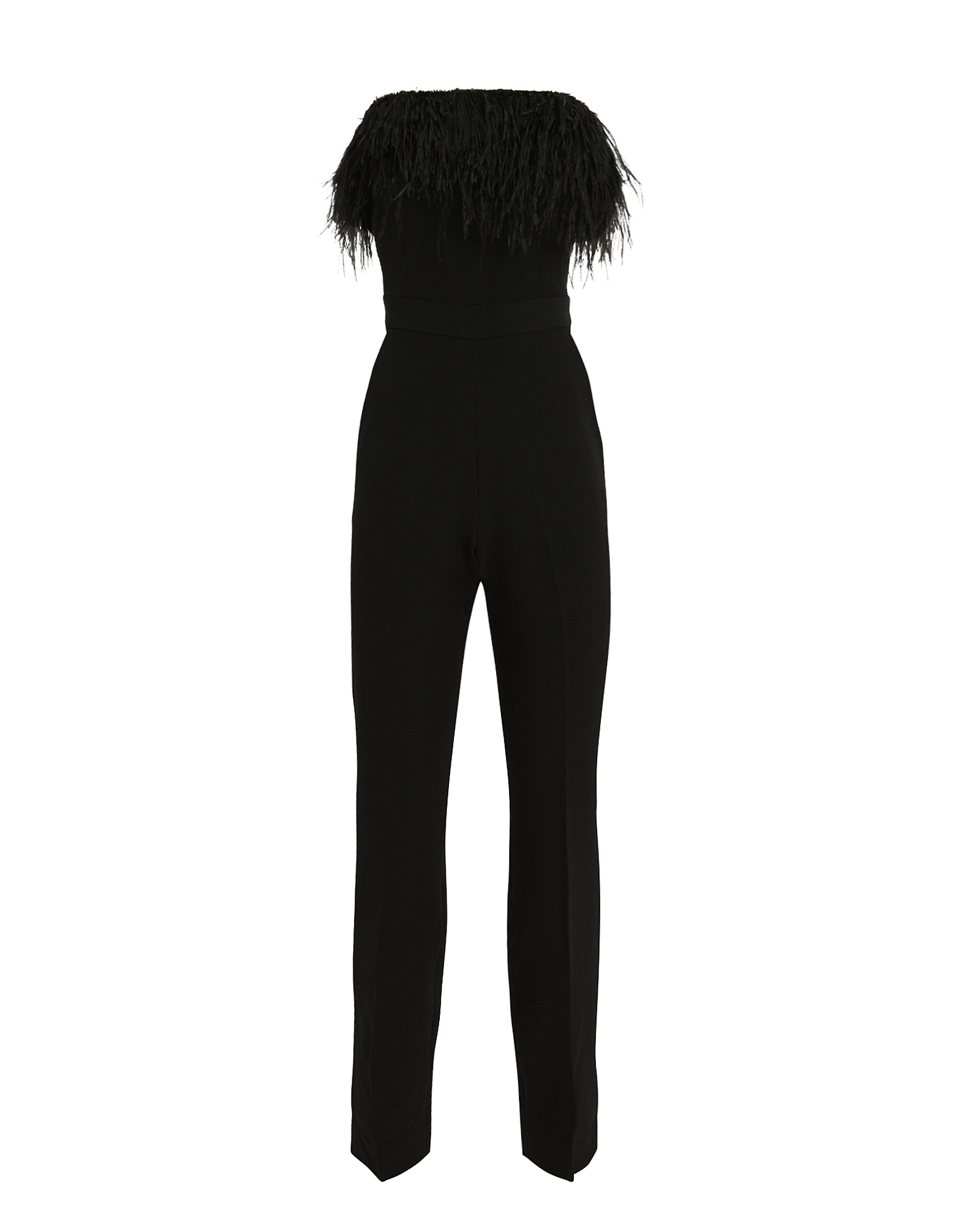 SAYLOR Straight-Leg Strapless Jumpsuit With Feather Trim in Black