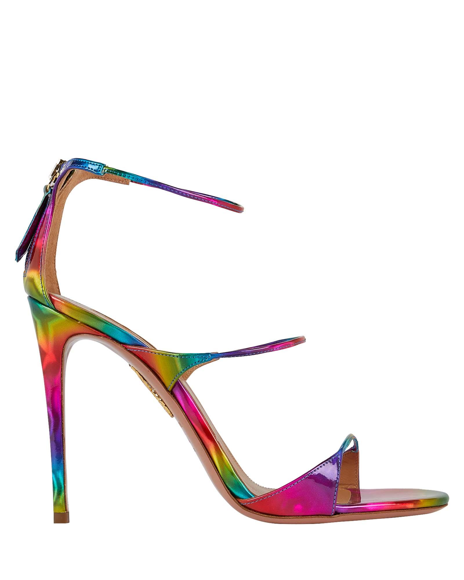 Aquazzura Sandals Minute 105 Rainbow Leather Sandals