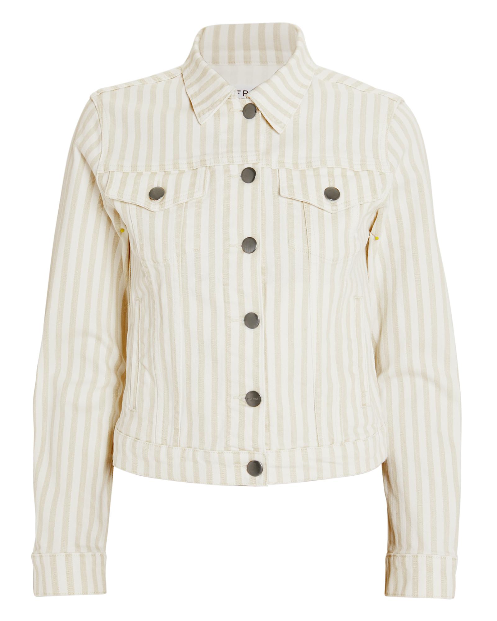 Frame Jackets FRAME LE VINTAGE COURTYARD STRIPED DENIM JACKET  WHITE/BEIGE P