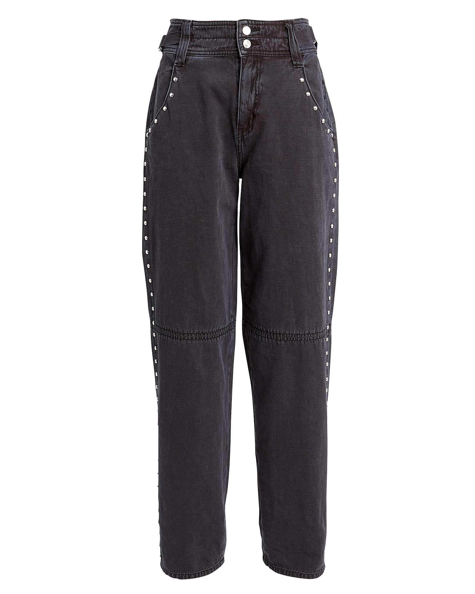 Current Elliott Studded Debbie High-rise Jeans In Faded Black Denim