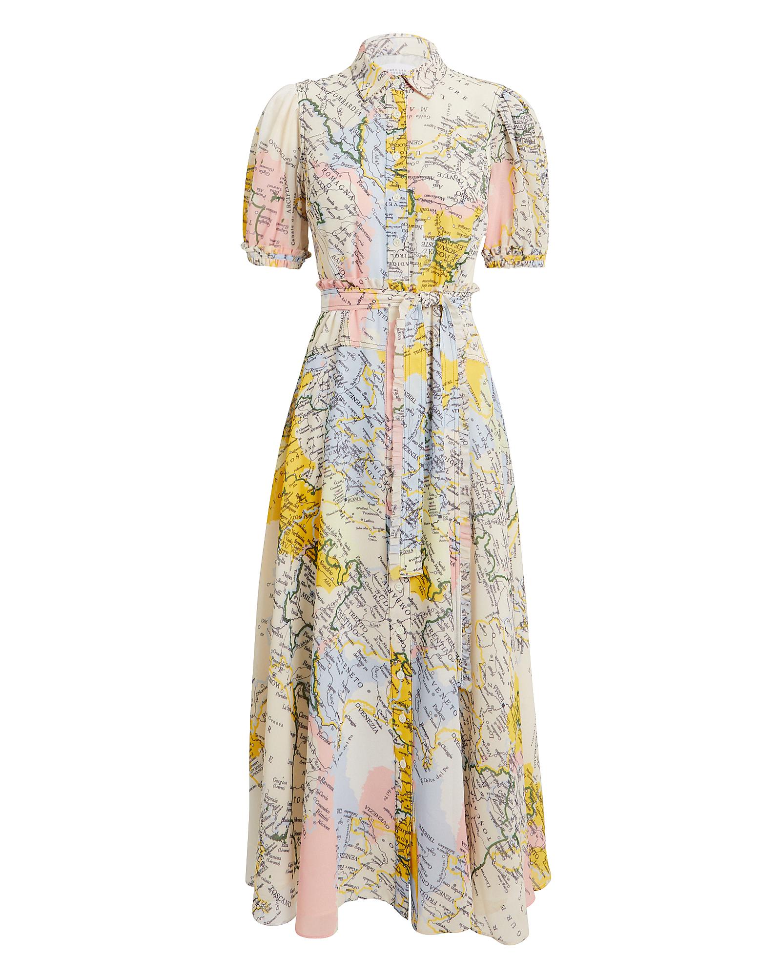 10 CROSBY Map Print Button Down Dress