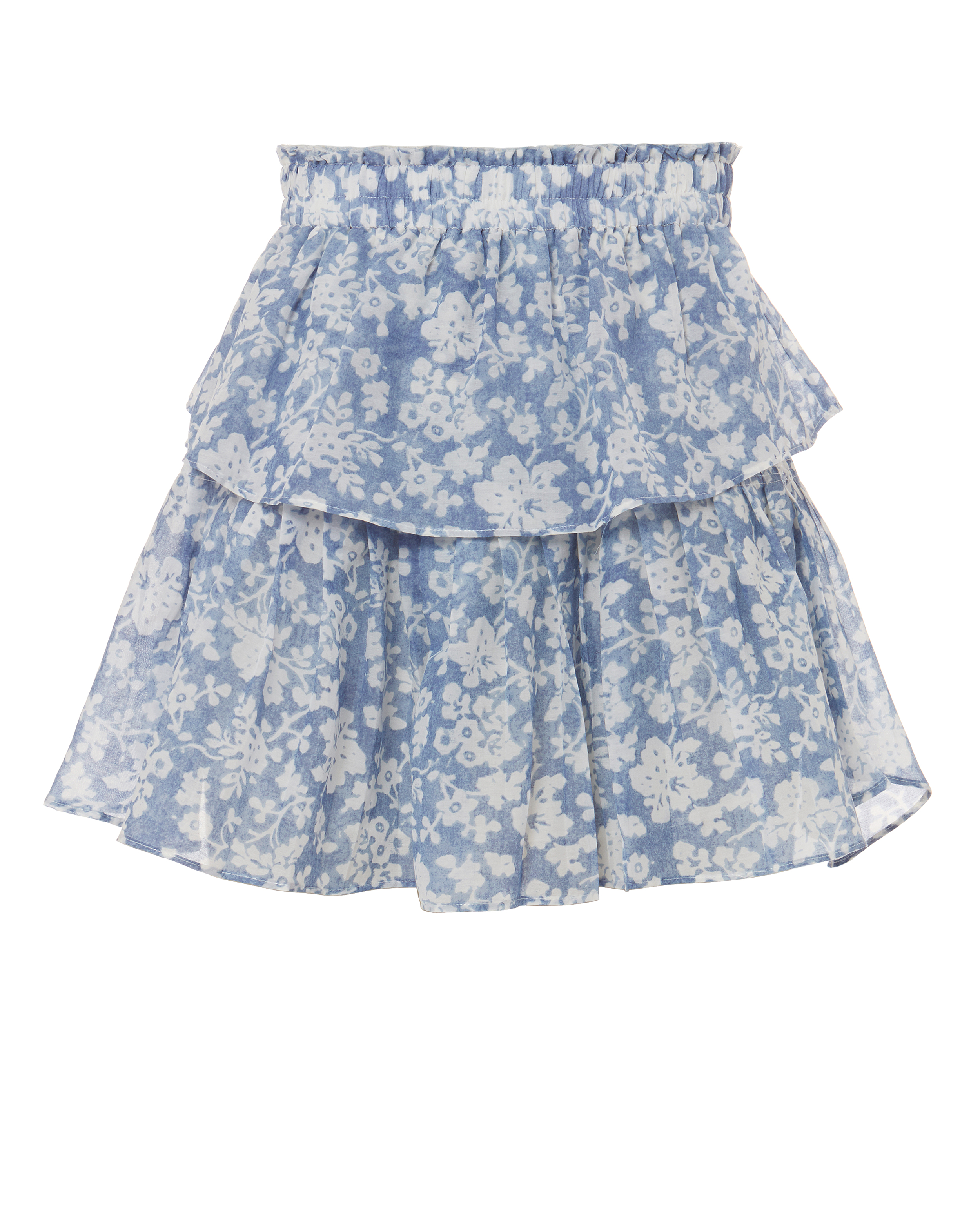 LOVE SHACK FANCY LOVESHACKFANCY BLUE RUFFLE INI SKIRT BLUE-ED