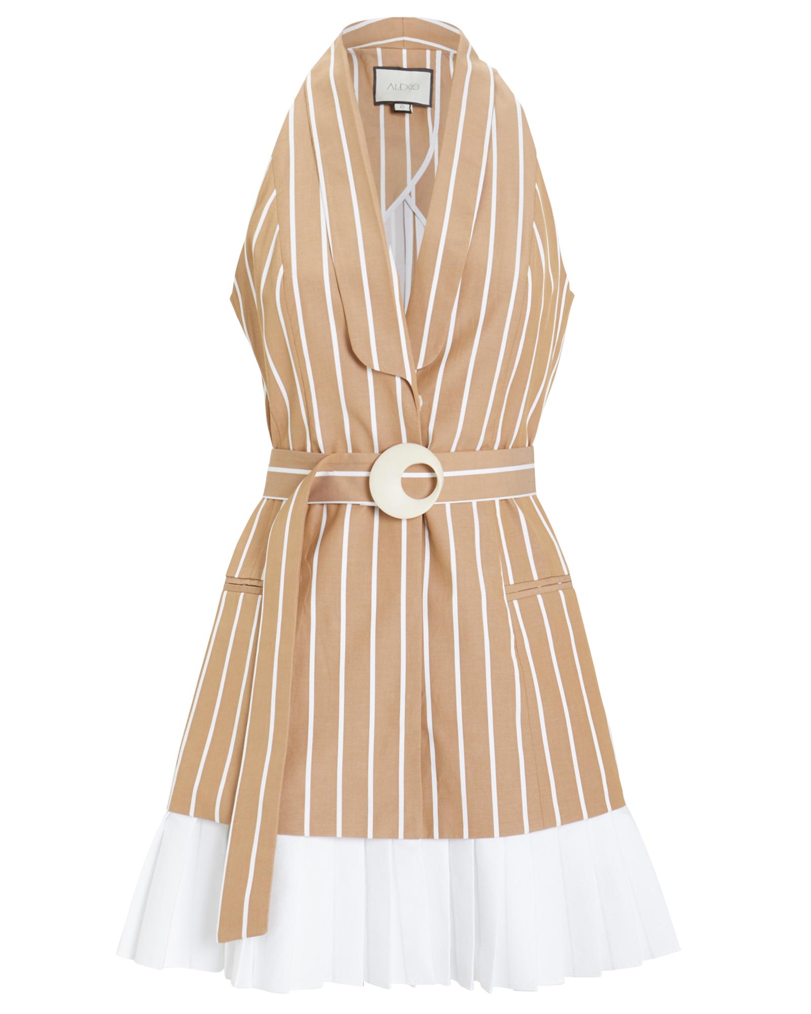 Alexis Dresses ALEXIS CARMONA POPLIN SLEEVELESS DRESS  BROWN/WHITE M