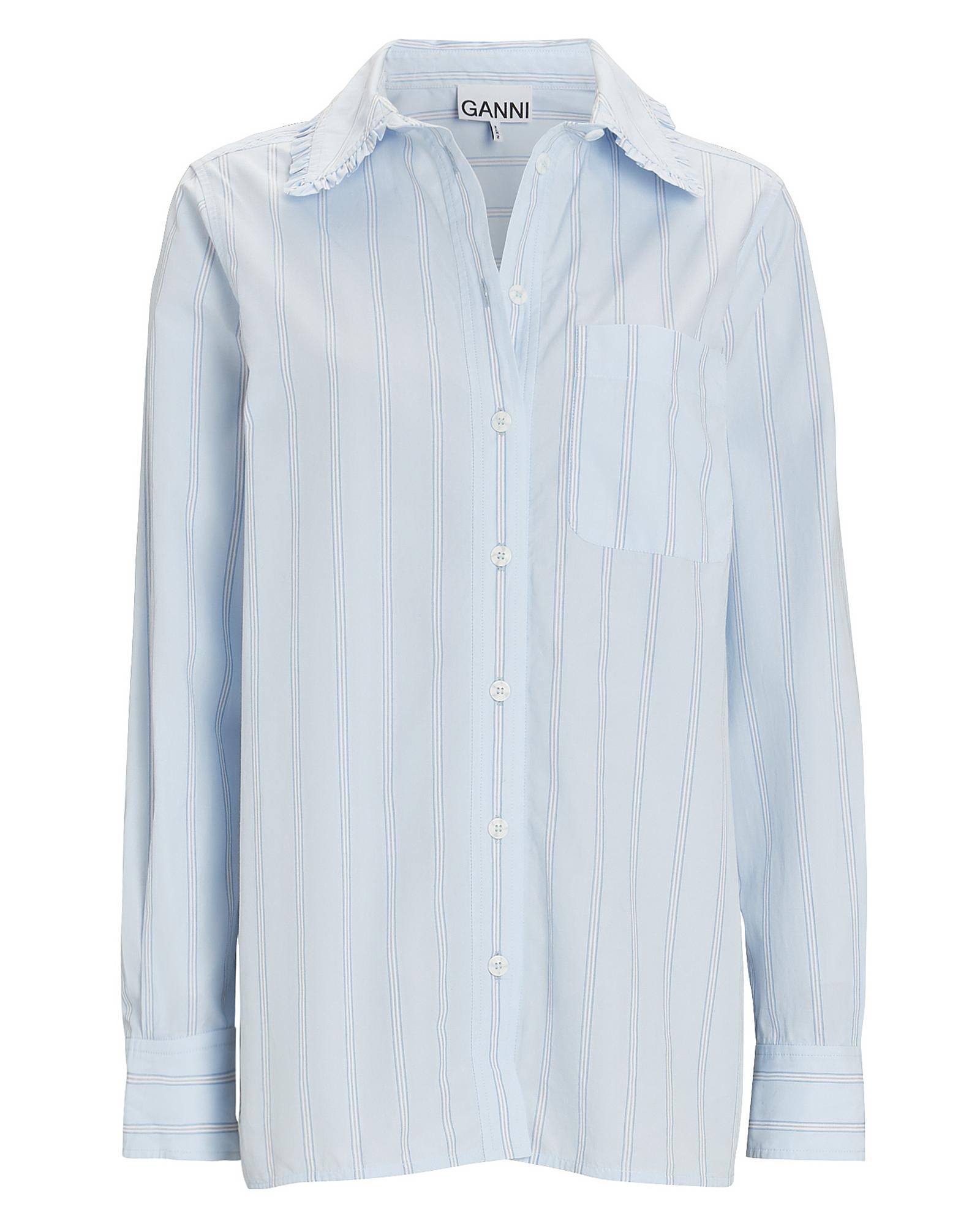 Ganni Striped Poplin Button-down Shirt In Multi