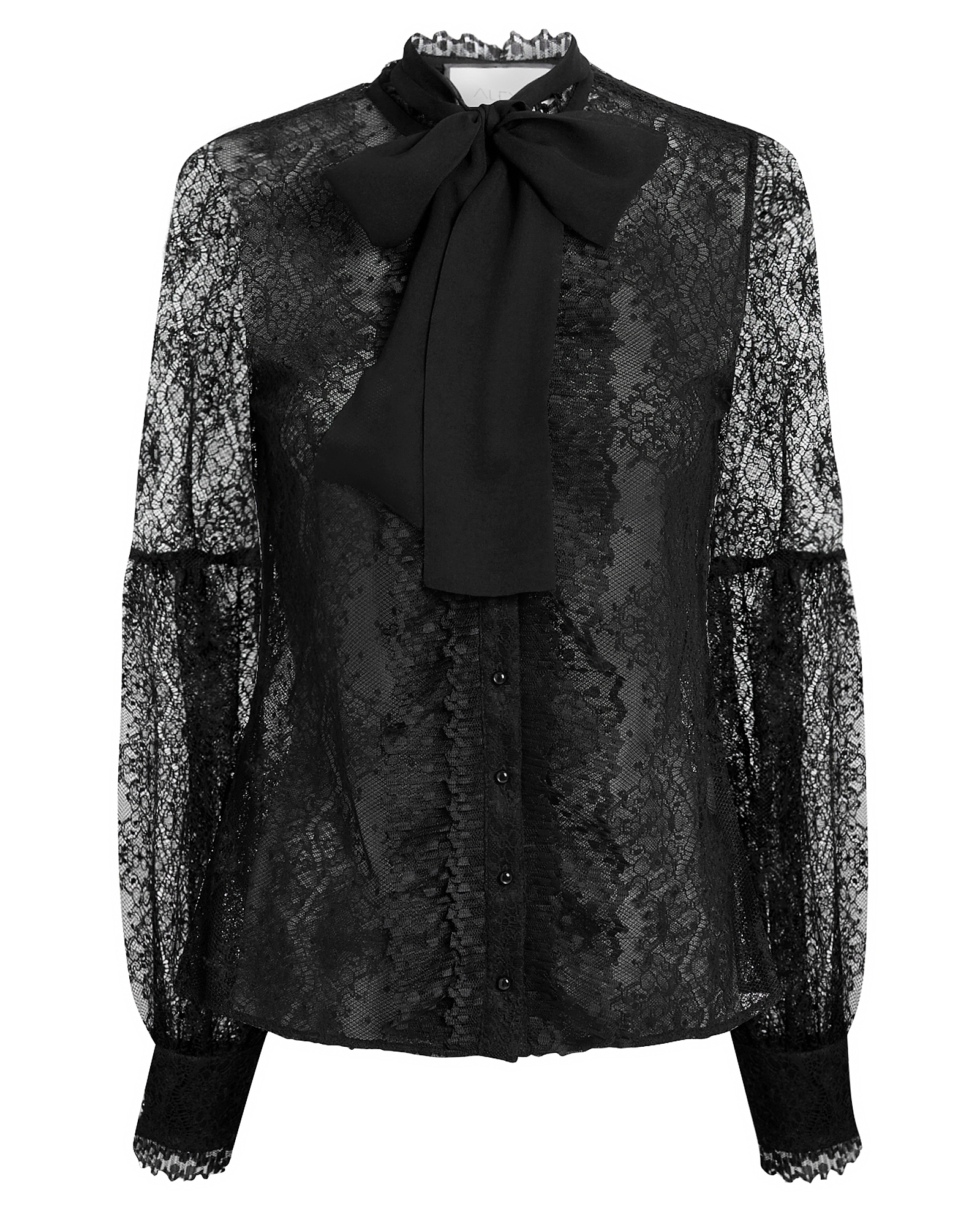 Alexi Chari Tie Neck Lace Top Black