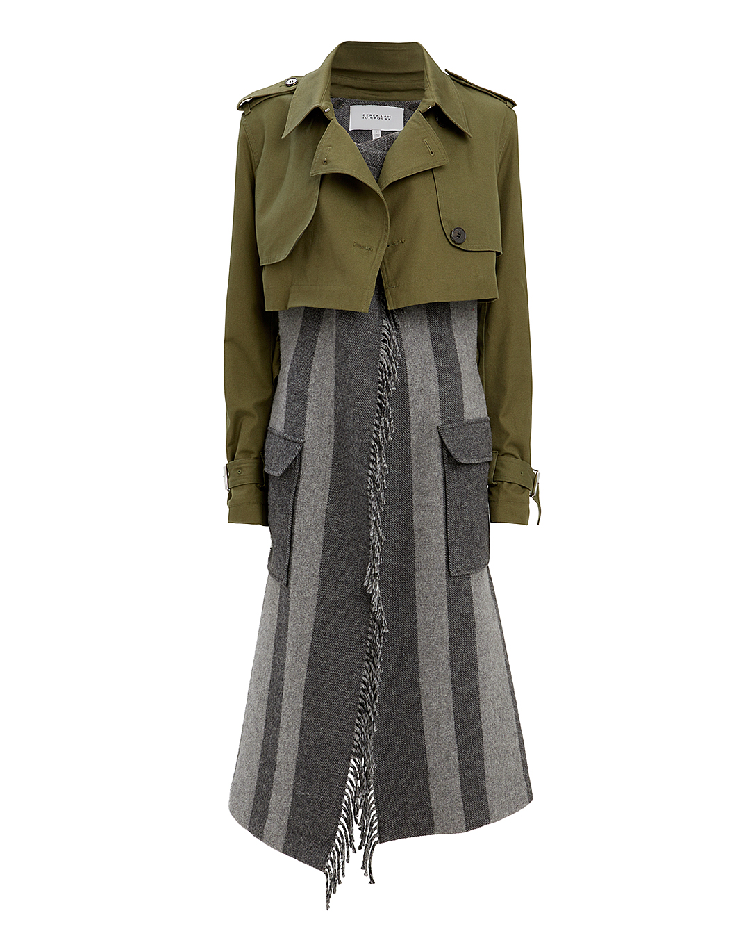 10 CROSBY DEREK LAM  TRENCH COAT COMBO OLIVE/ARMY