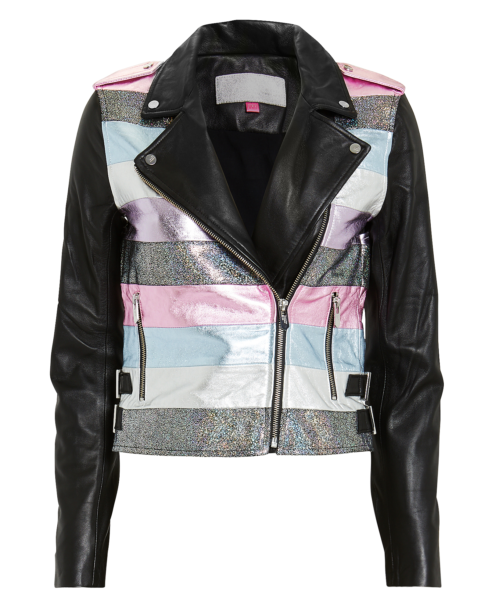 THE MIGHTY COMPANY The Mighty Comany Nesso Cro Leather Jacket Black/Metallic Strie