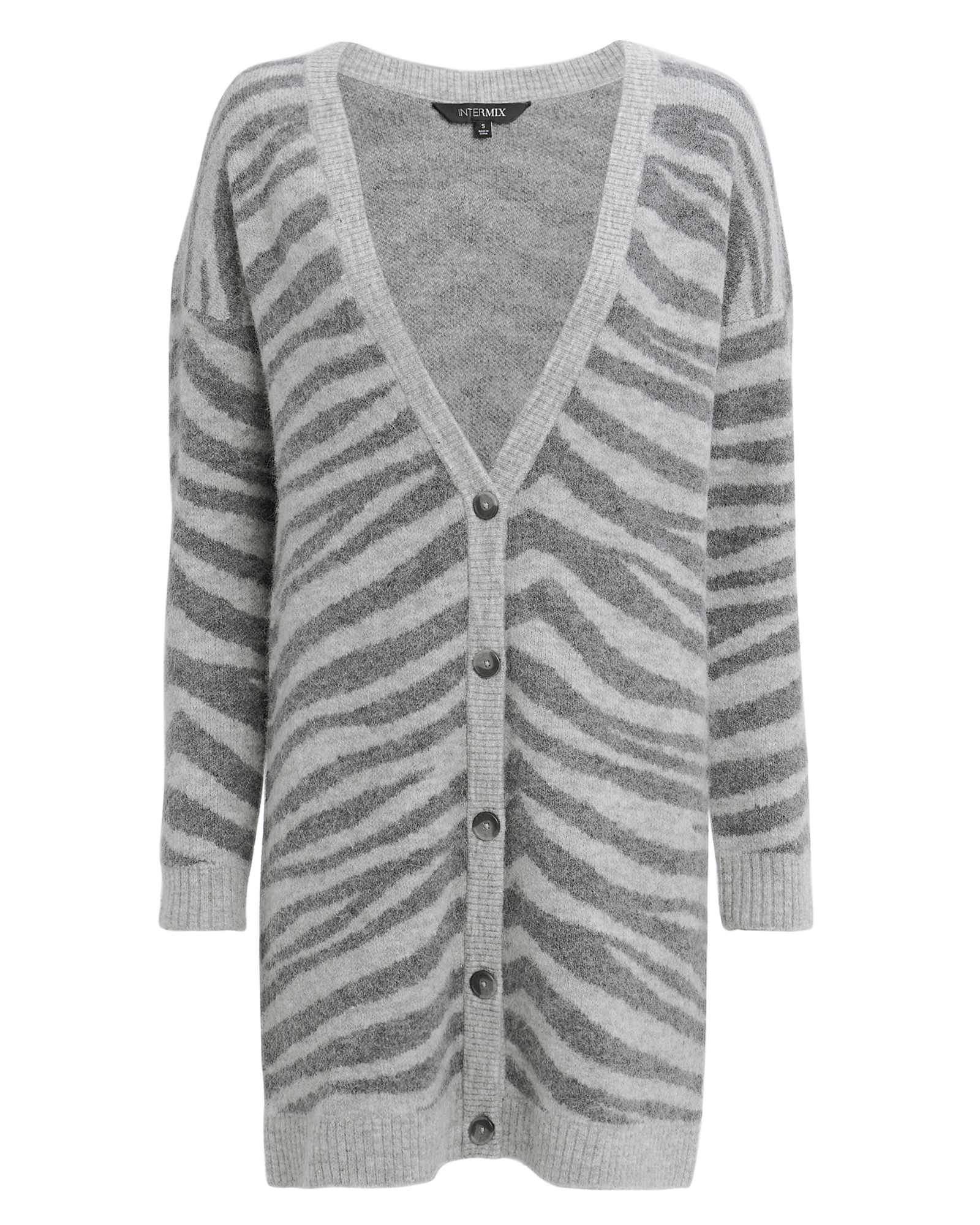 EXCLUSIVE FOR INTERMIX Interix Nala Zebra Cardigan Grey