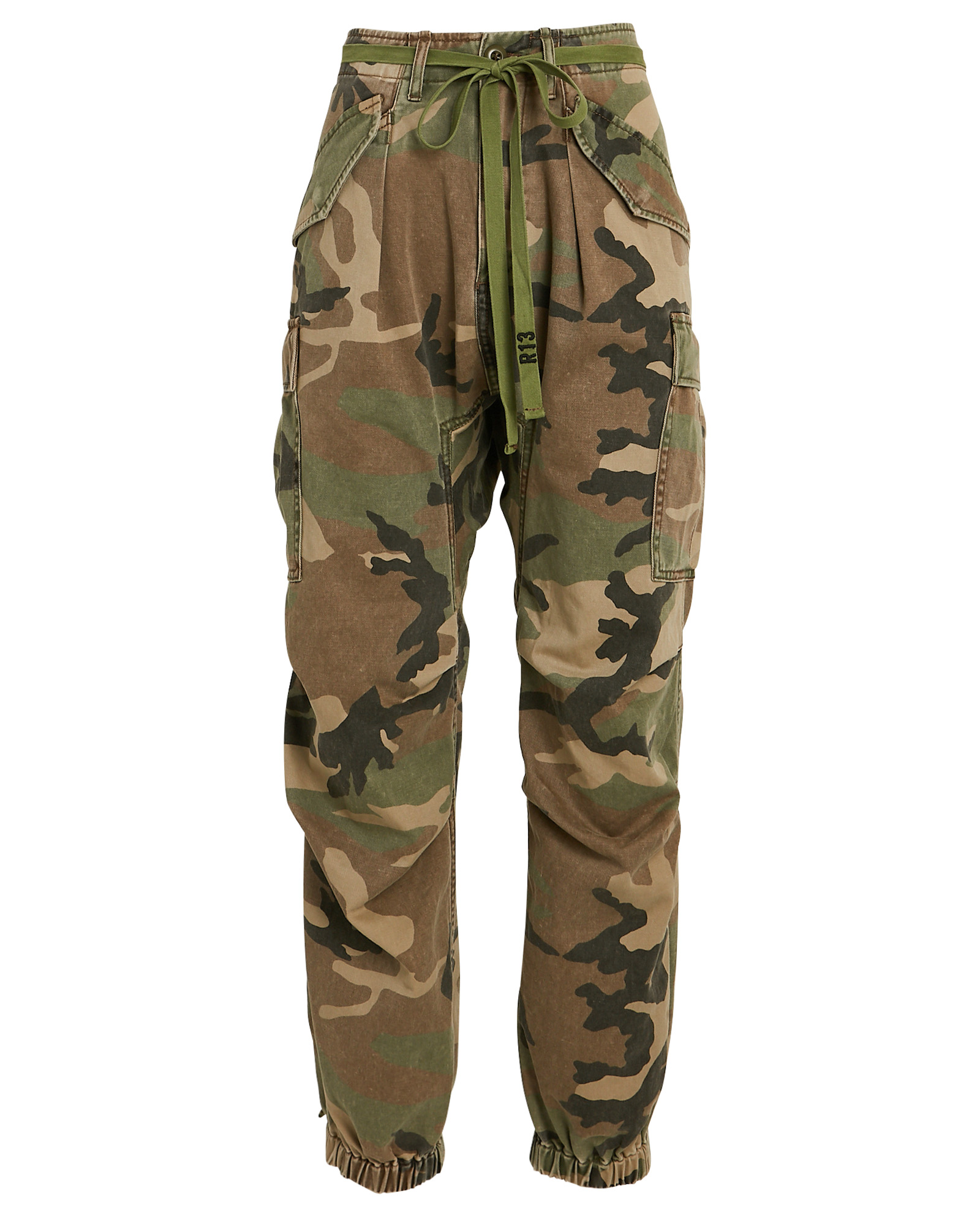 R13 R13 CAMOUFLAGE DROP CROTCH CARGO PANTS